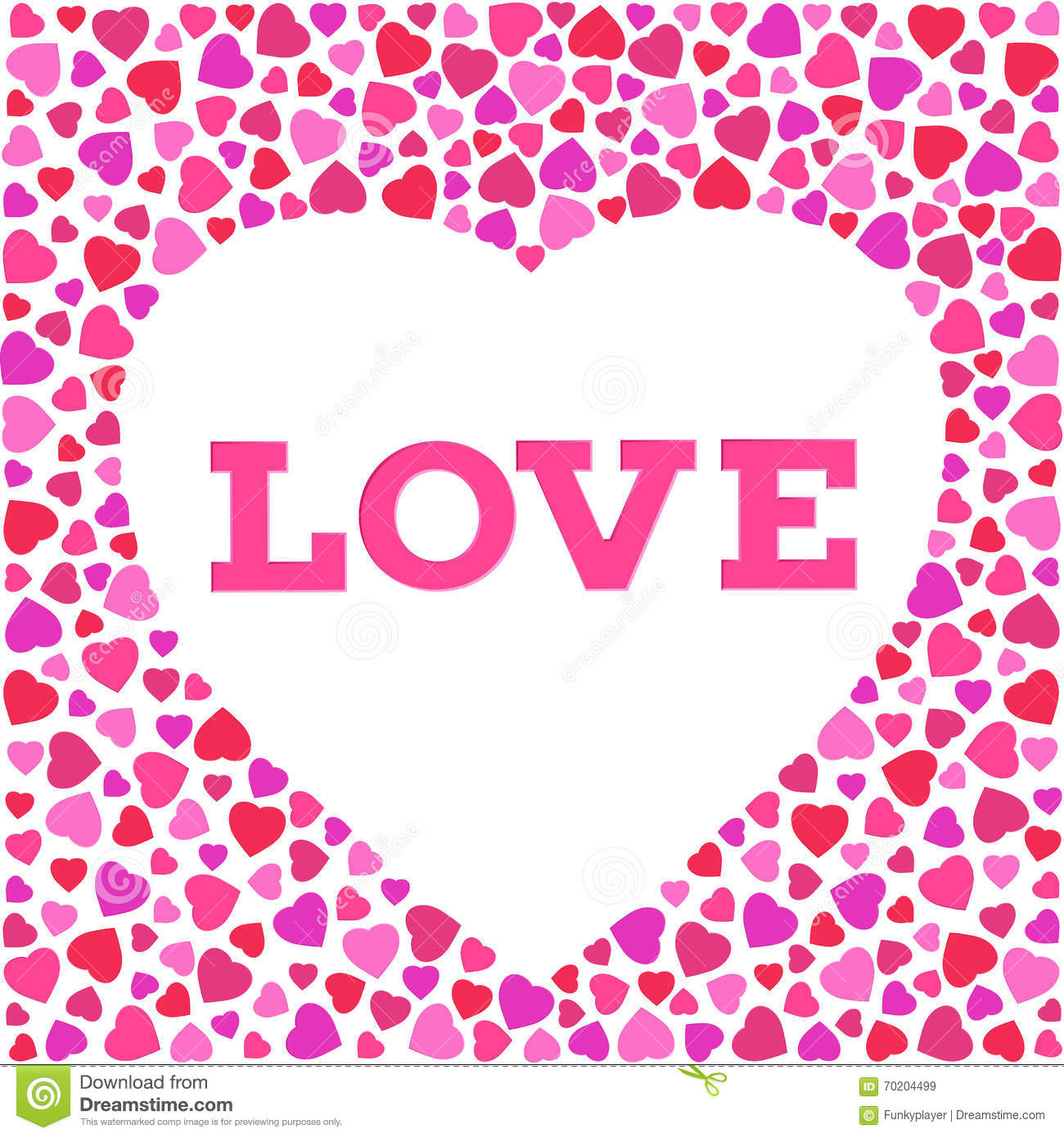 Greeting Card With Stylized Heart Symbol And Love