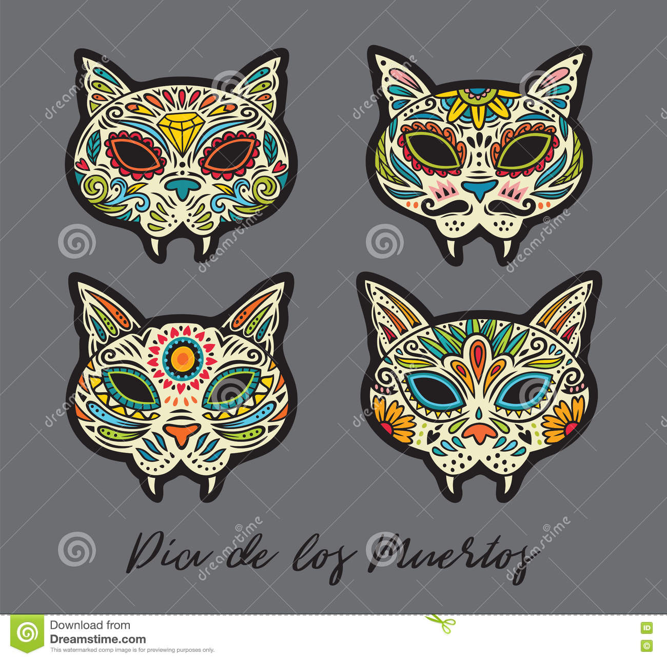 Greeting Card With Sugar Skull Cats Traditional Holiday In Mexico