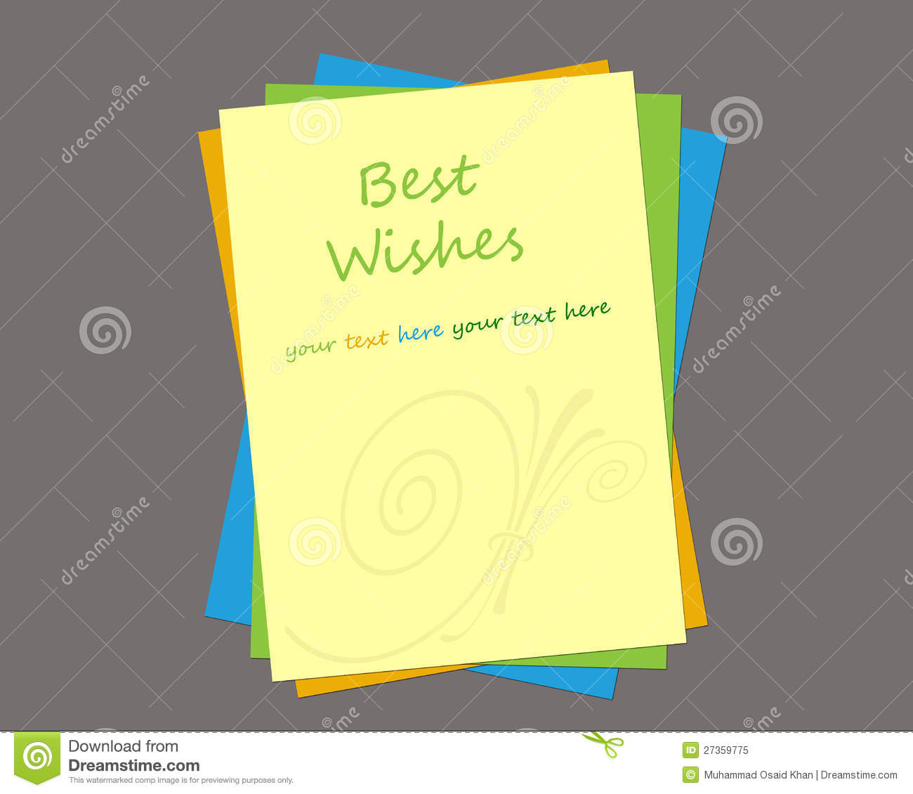 Greeting card template containing word best wishes also available in