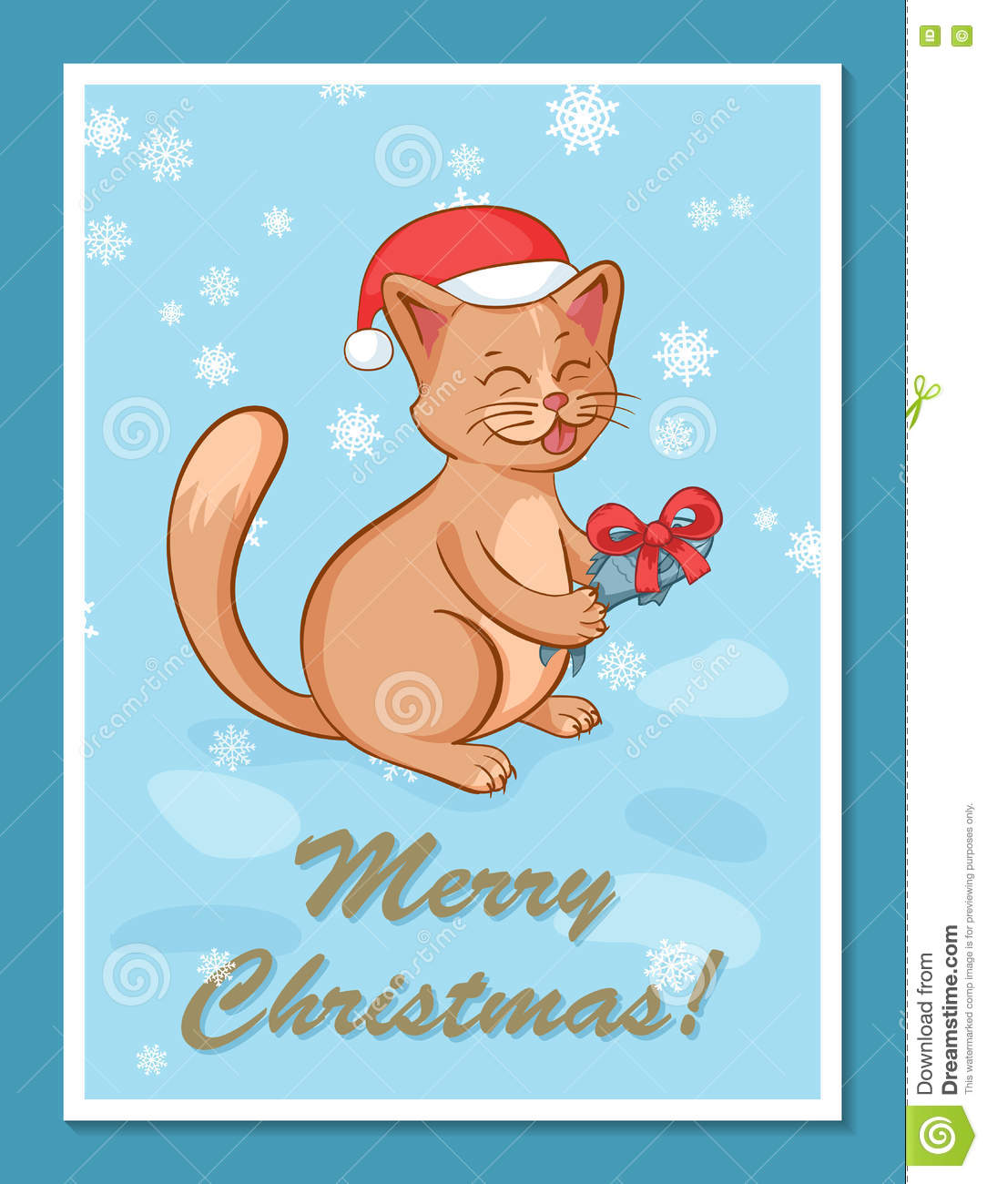 Greeting Card Template With Cute Cartoon Happy Cat Character In Red ...