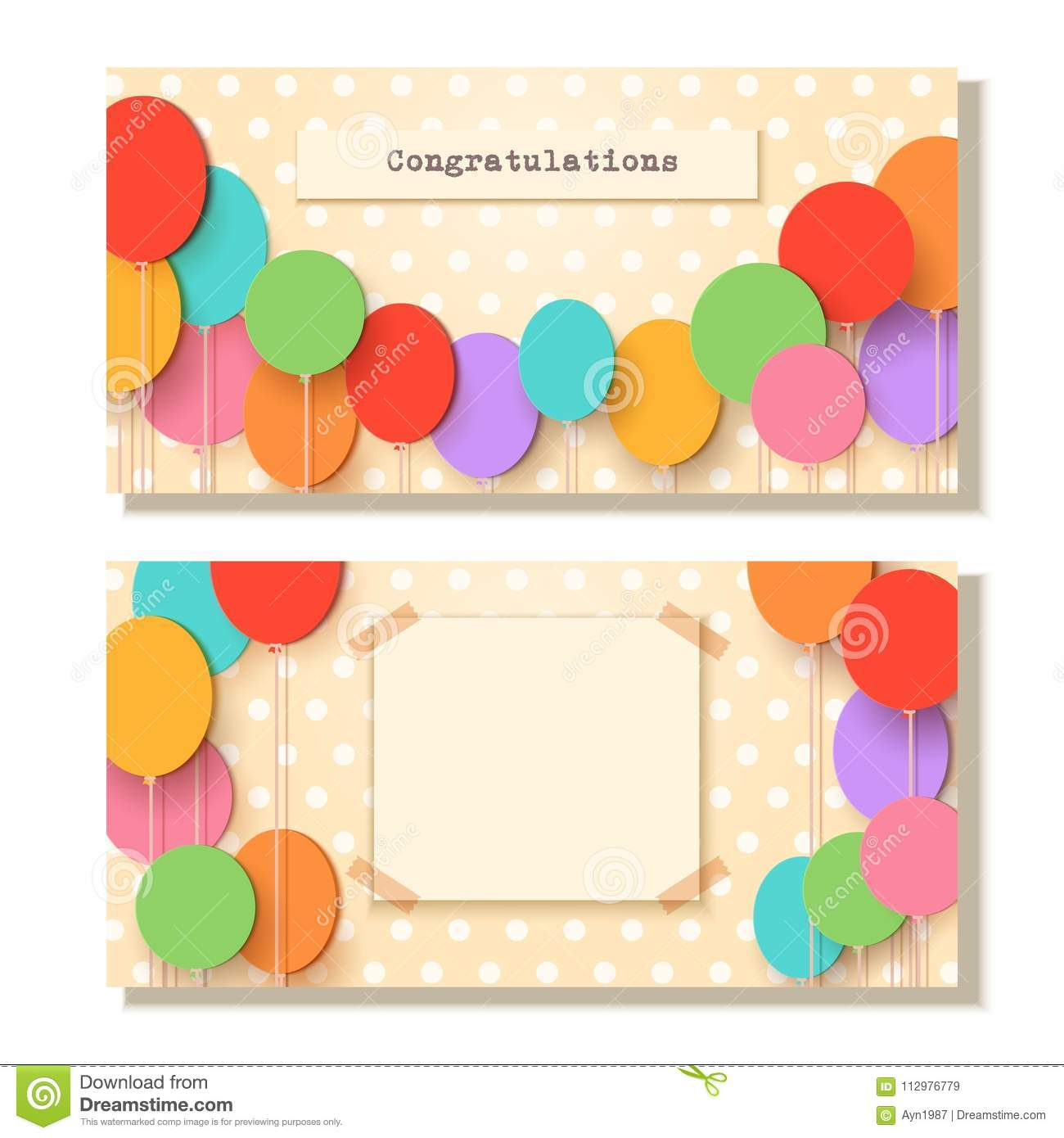 Greeting card template. Flying paper cut balloons. Vector applique illustration. Flat festive balloons decoration for