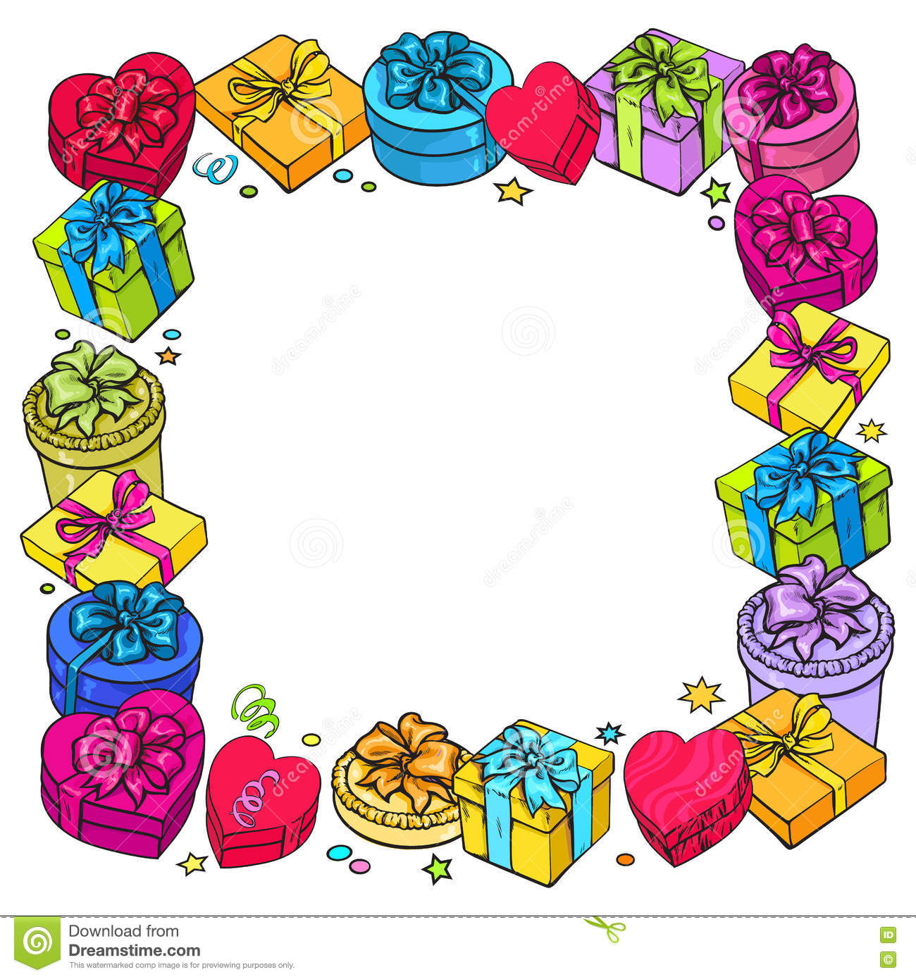 Greeting Card Template With Frame Of Gift And Present Boxes