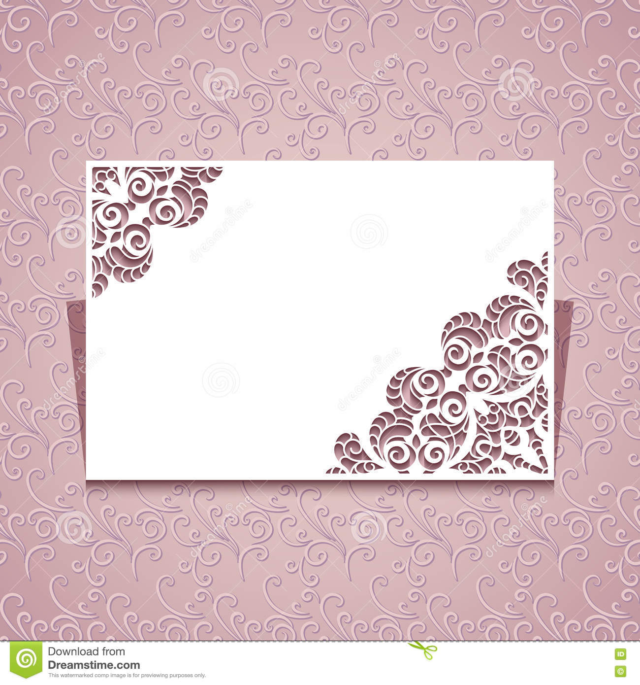 greeting card template with lace corners stock vector