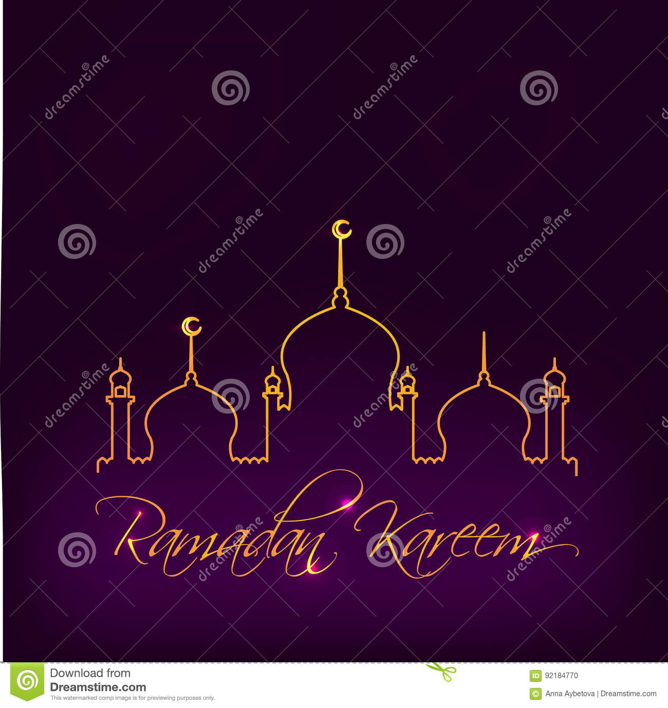 Greeting Card Template For Muslim Holiday With Flat Illustration Of