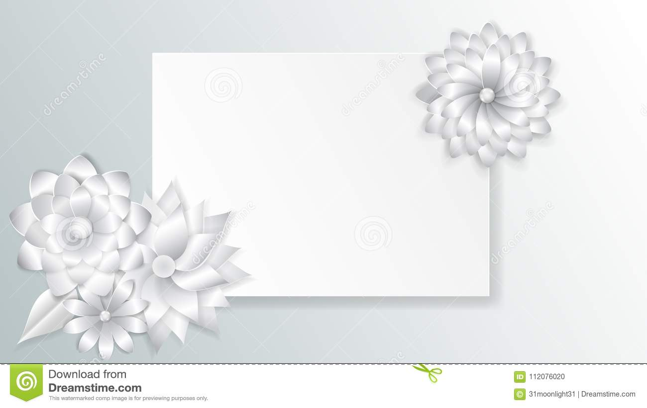 Greeting card template with paper flowers stock vector greeting card template with beautiful volume paper flowers with soft shadows maxwellsz