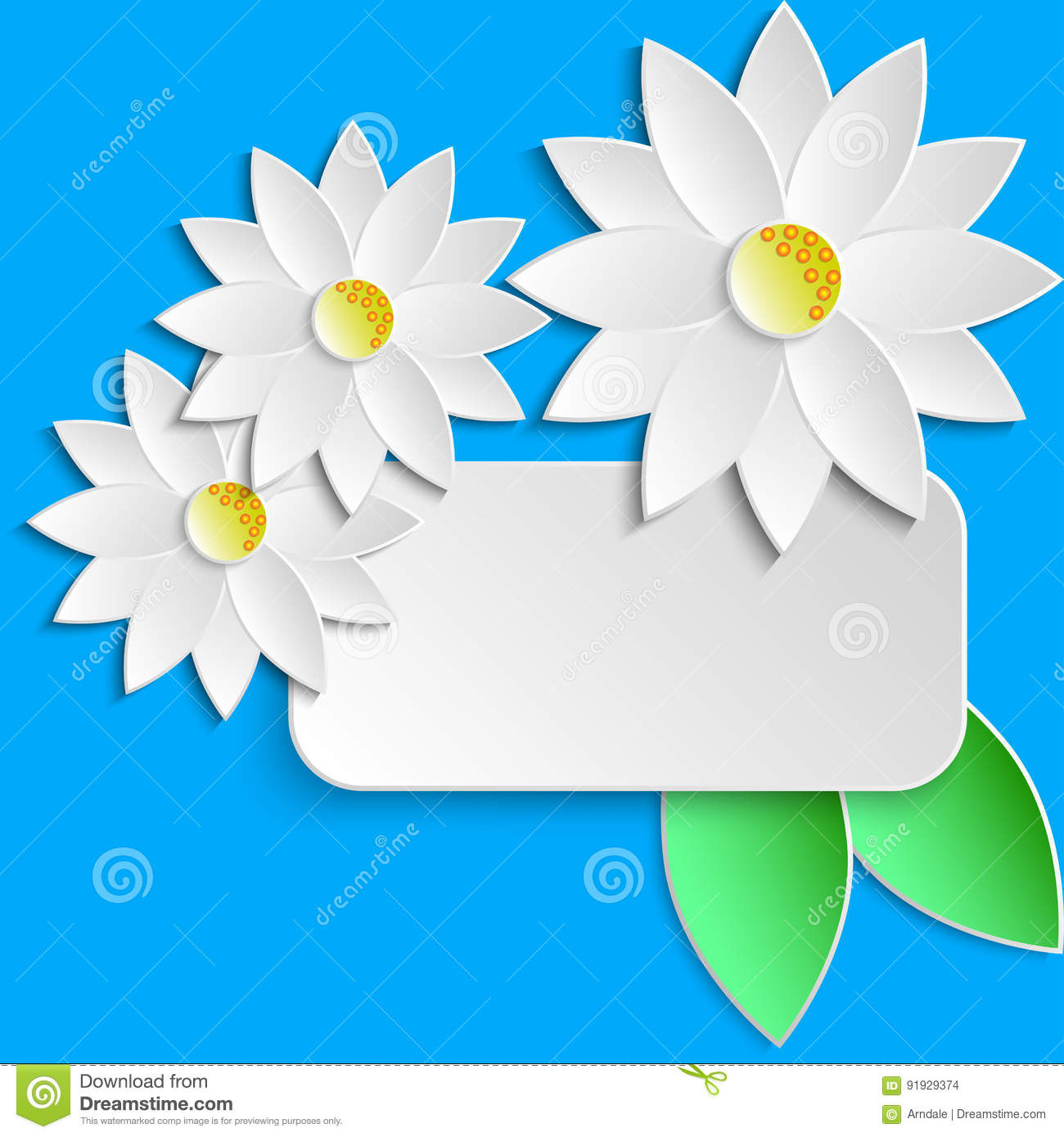 Greeting Card Template With Paper Flowers Stock Illustration