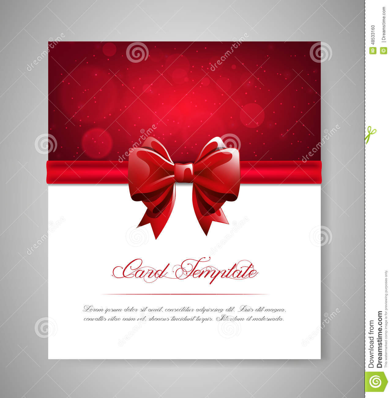 Greeting card template with red bow and ribbon invitation vector download comp stopboris Image collections