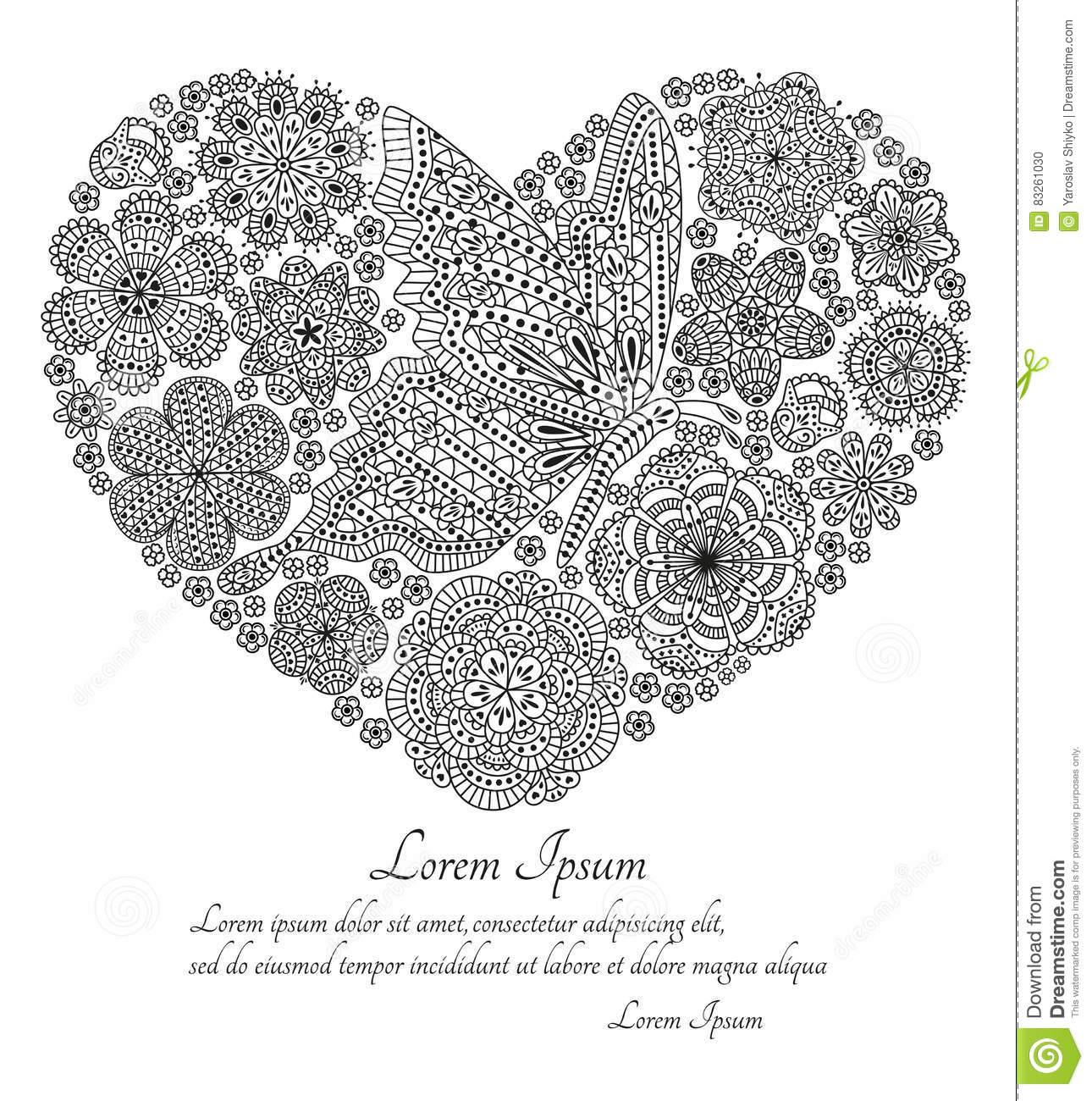 Greeting Card Or Template With Stylized Flowers Stock Vector ...