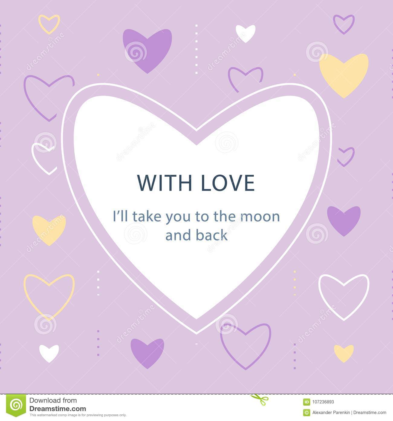 Greeting Card Template Valentines Day Subtle Background With