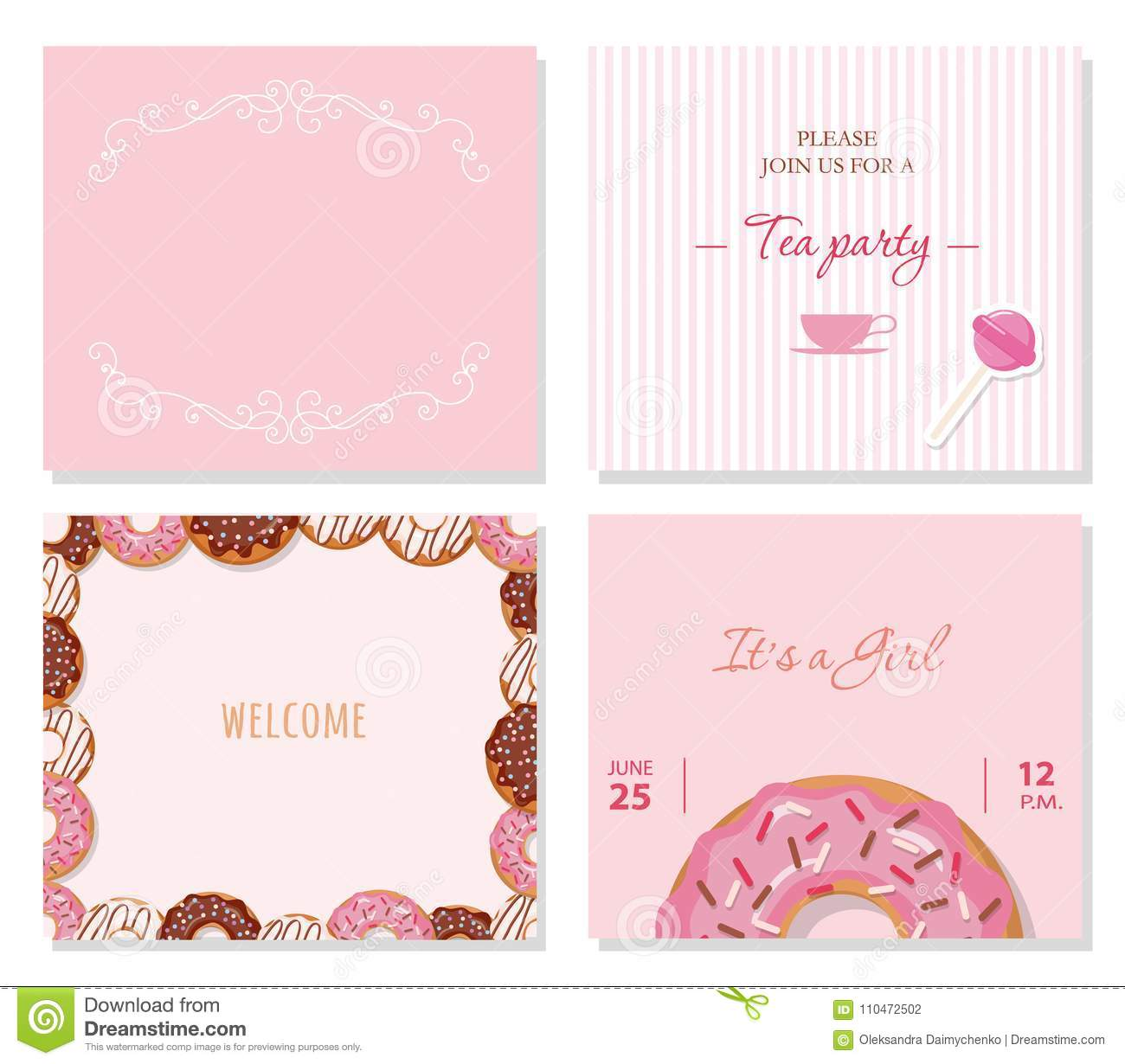 Greeting card templates set in pastel pink stock illustration download greeting card templates set in pastel pink stock illustration illustration of inscription m4hsunfo