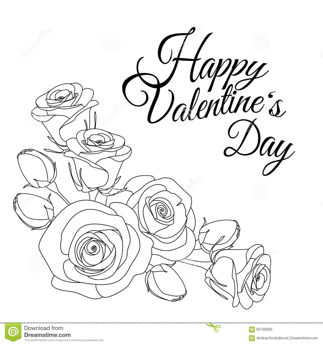 greeting card with text happy valentines day and roses colouring