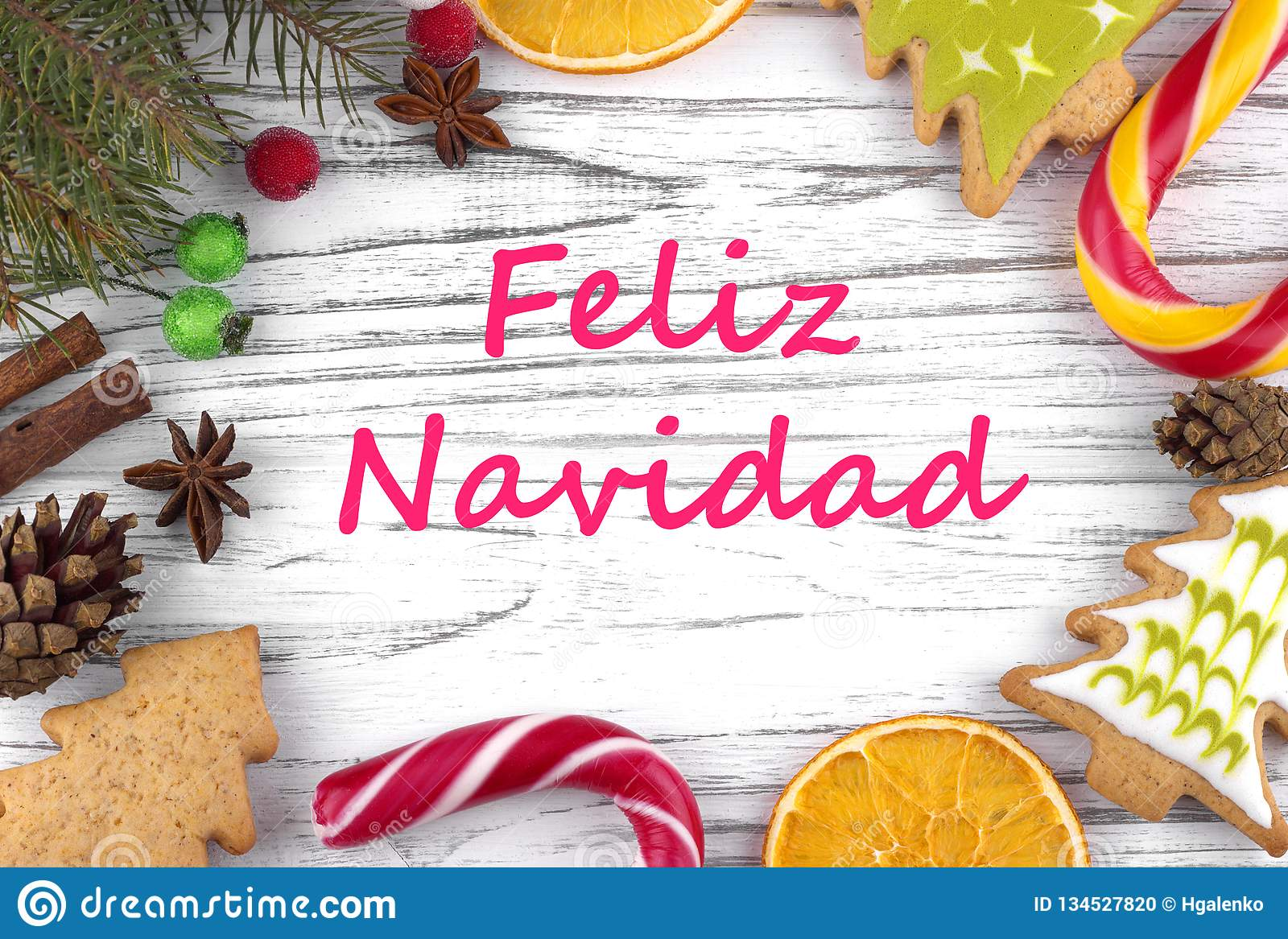 Greeting Card With Text Merry Christmas In Spanish Stock ...