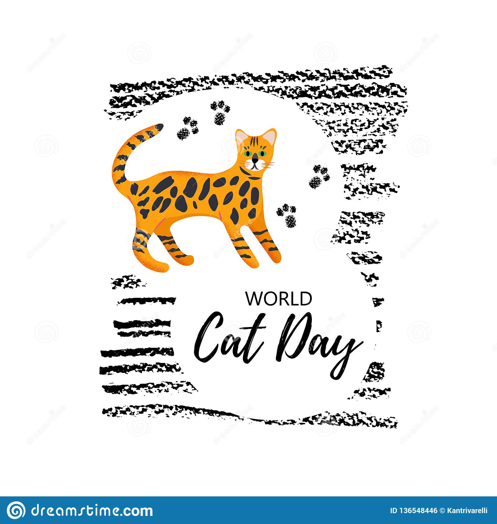 7926db1634 Greeting Card With Text ` World Cat Day`. Icon Of Bengal Breed ...