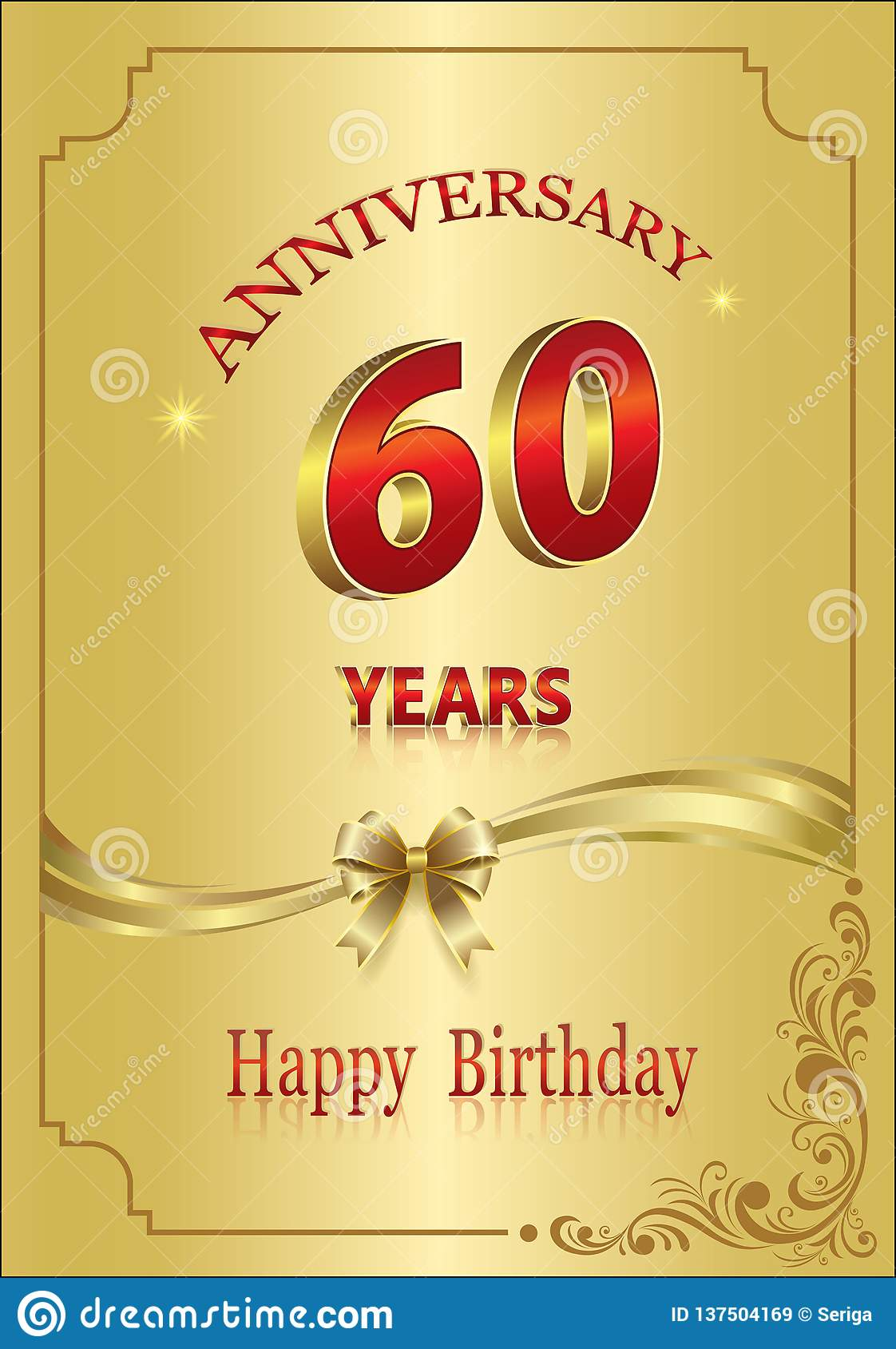 Anniversary 60 Years Happy Birthday Greeting Card Celebrations Background Vector Illustration