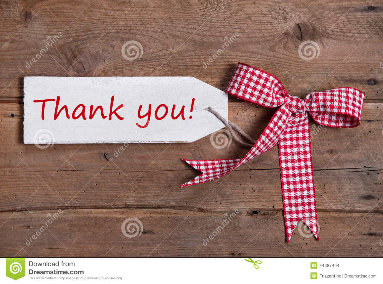 greeting card with thank you and a red checked ribbod