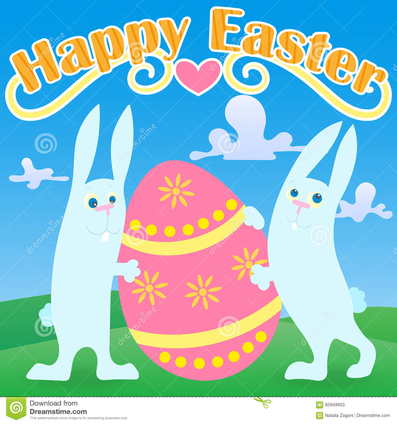 Greeting Card To The Day Of Easter Two Funny Cartoon Easter Bunny