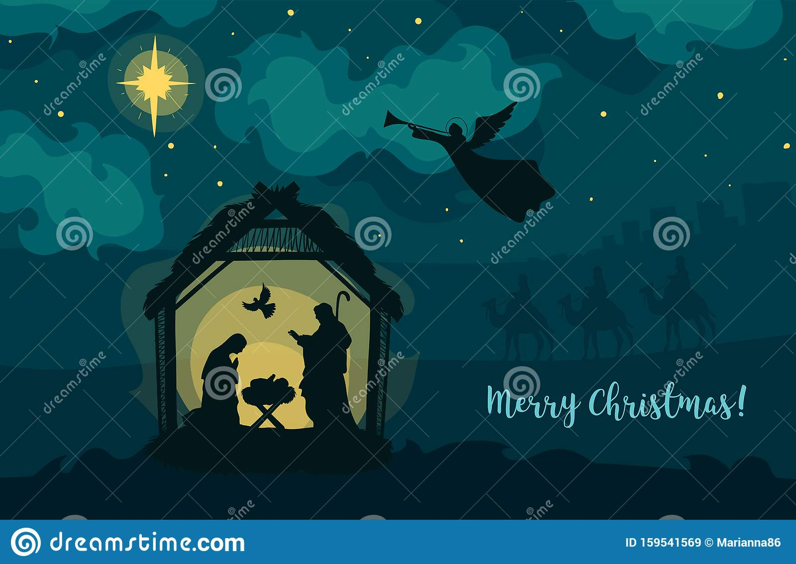 Greeting Card Of Traditional Christian Christmas Nativity Scene Of Baby Jesus In The Manger With Mary And Joseph In Stock Vector Illustration Of City Religious 159541569
