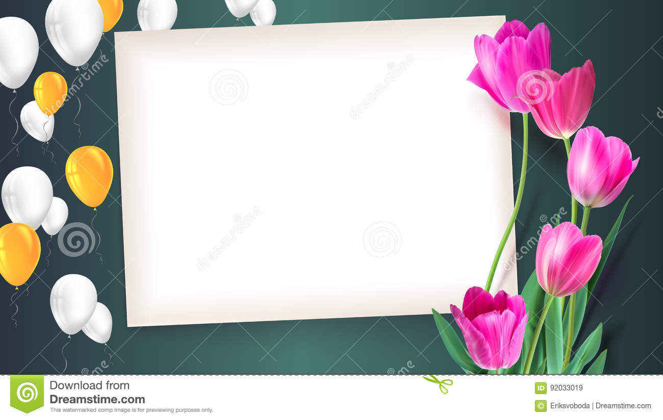 greeting card with tulips around the sheet of paper with flying