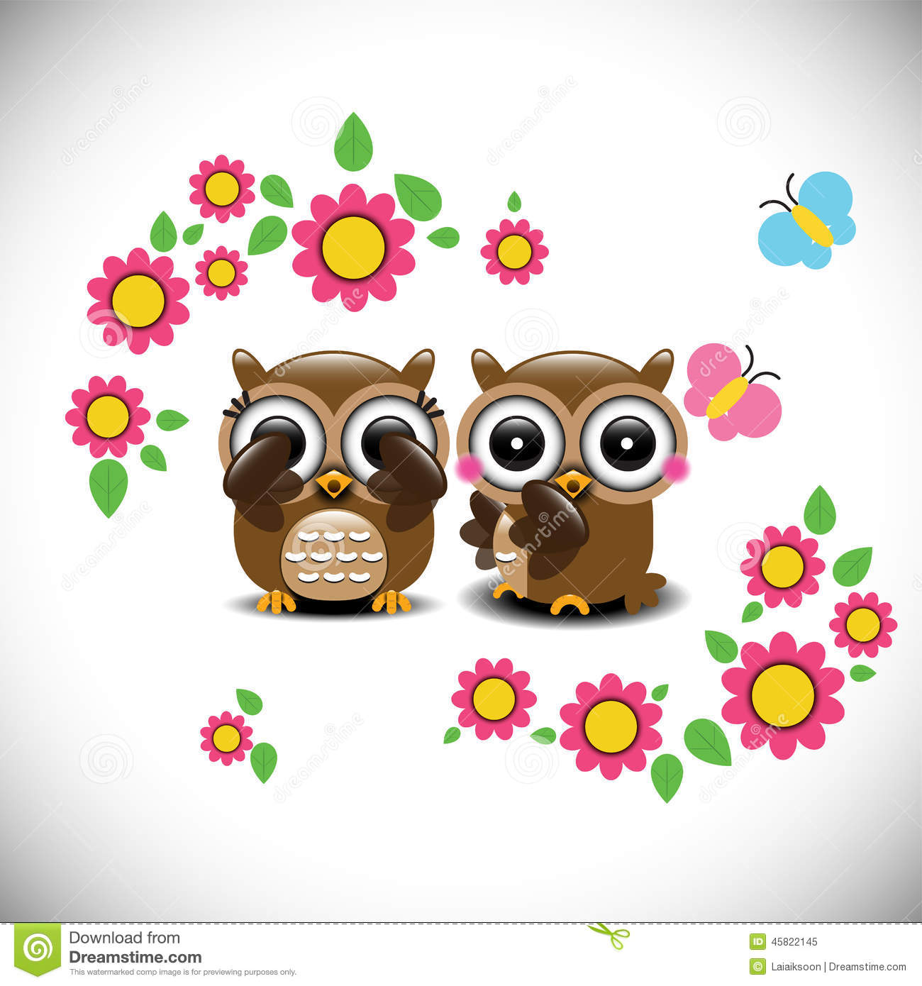 Greeting Card With Two Lovely Owls Stock Vector Illustration Of