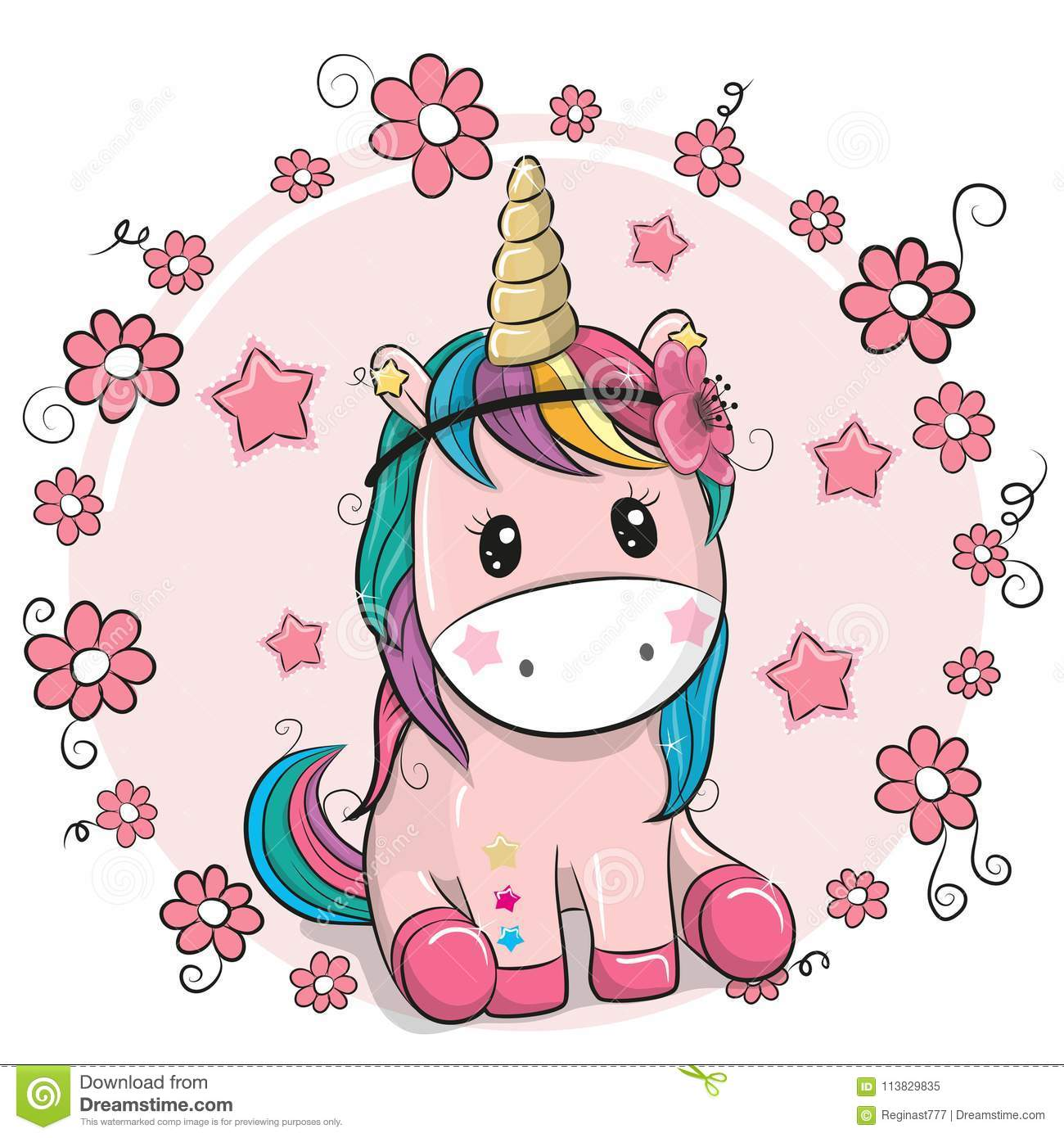 Download Greeting Card Unicorn With Flowers On A Pink Background Stock Vector