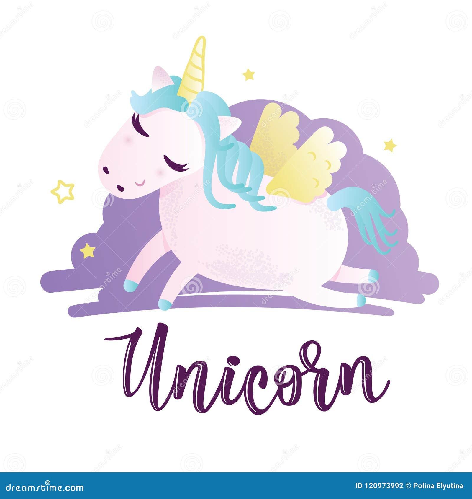 Greeting Card With Unicorn Inscription Stock Vector Illustration