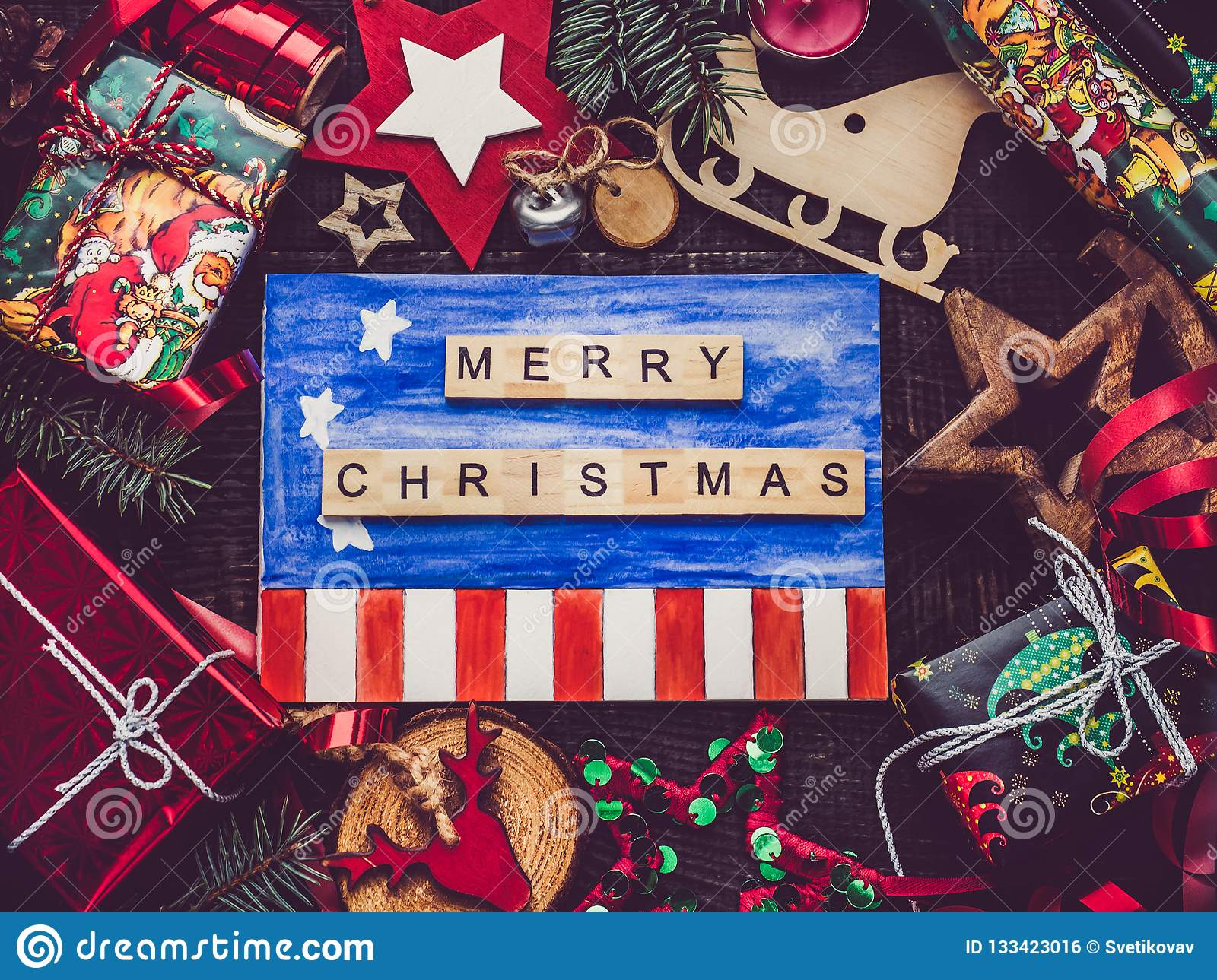 Greeting Card With Us Flag Drawing New Year And Christmas