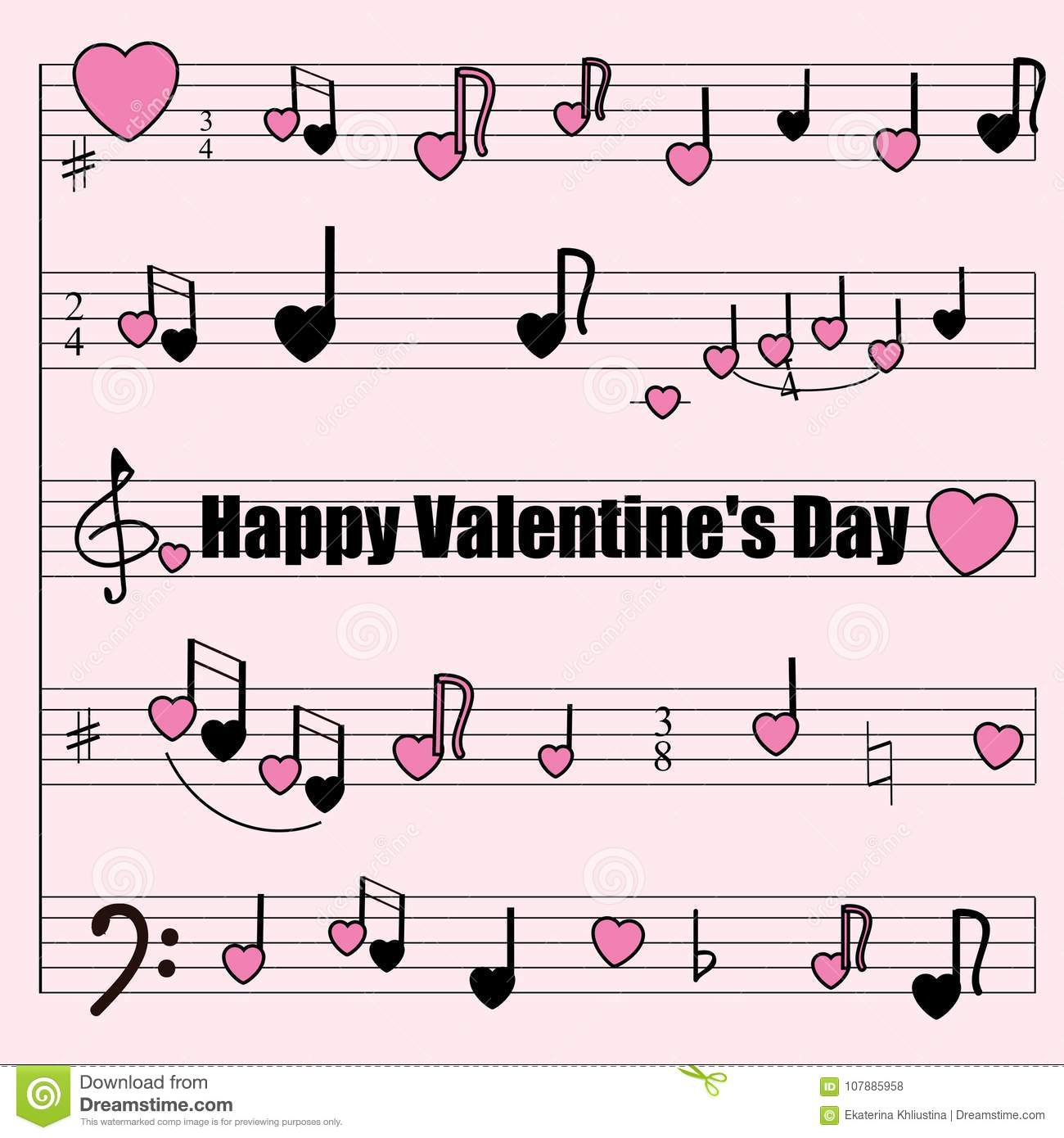Greeting Card For Valentines Day A Musical Mill With Stylized