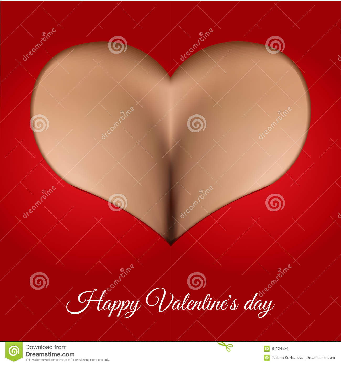 Greeting Card Valentine S Day Realistic Woman Breast Stock Vector