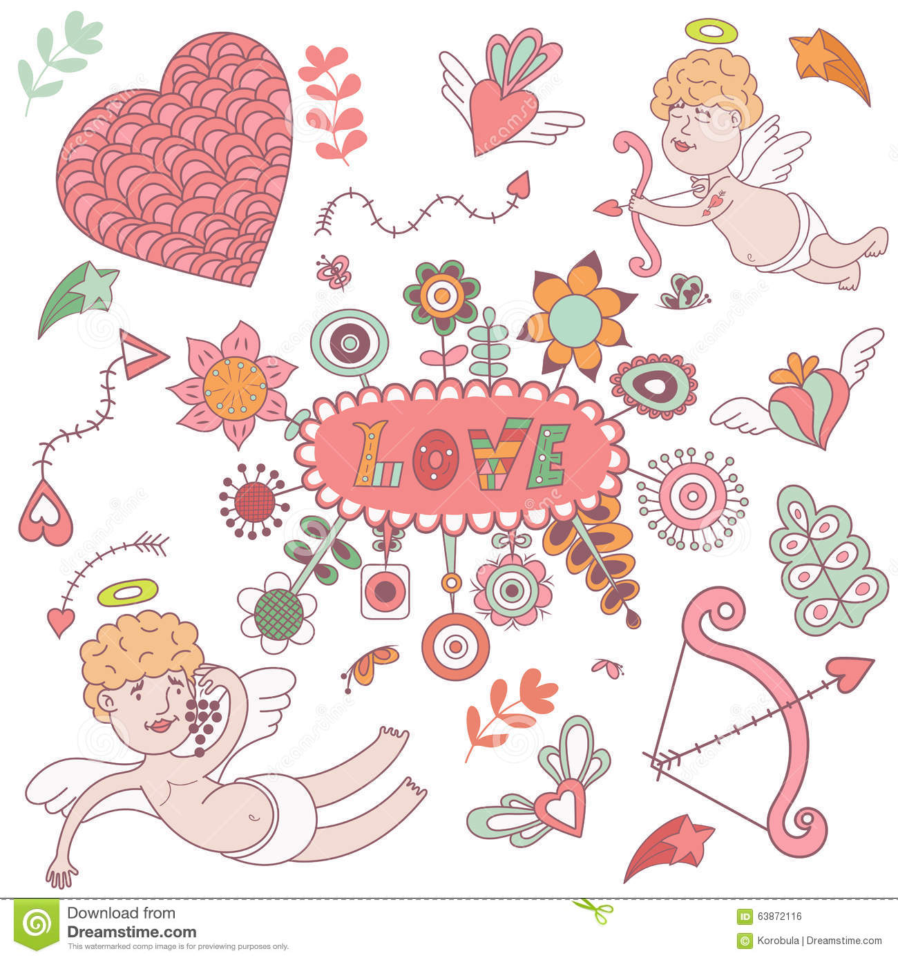 Greeting card for Valentines day with cute angels.
