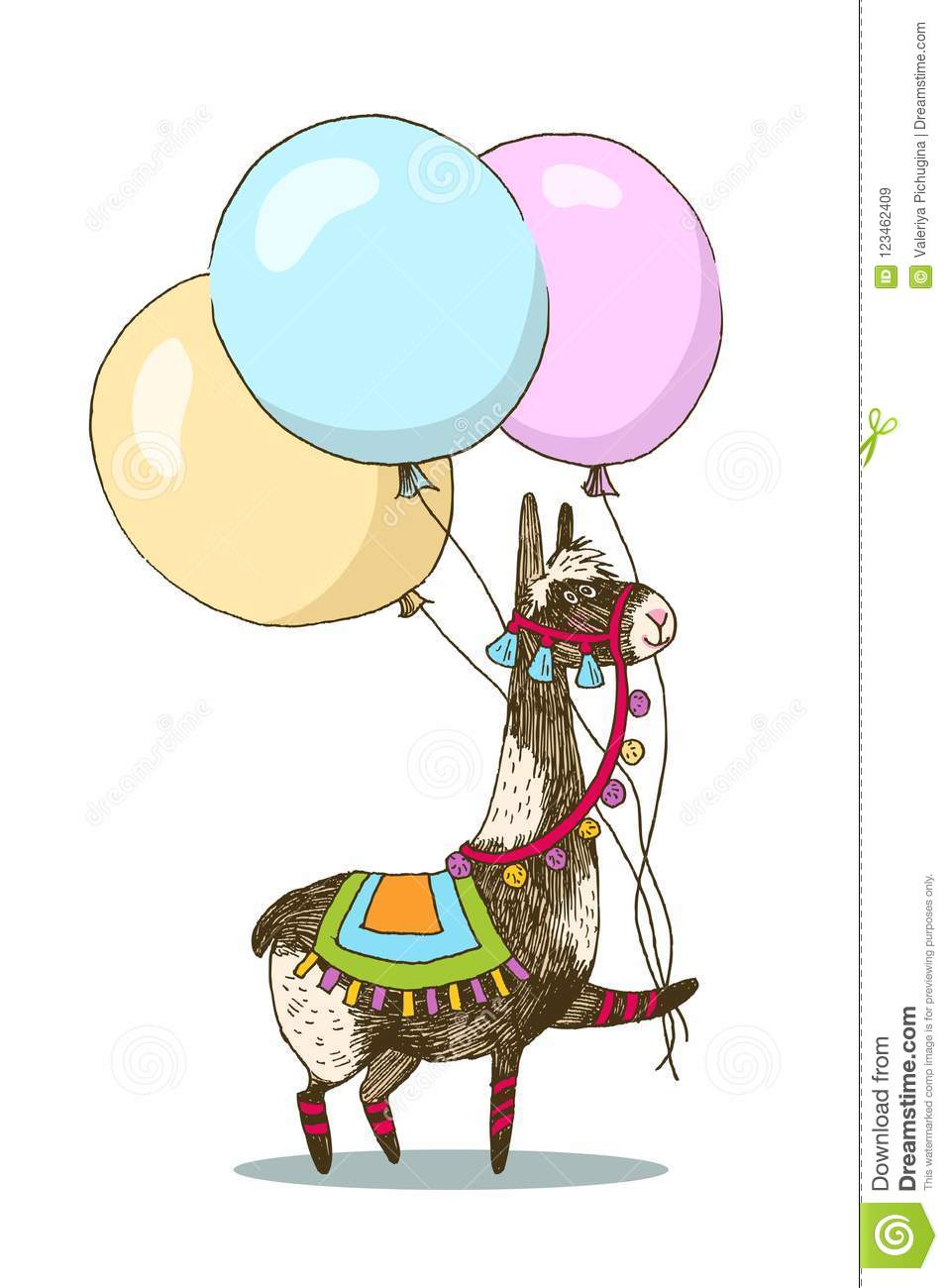 Greeting Card Vector Design. Cheerful Lama With Three Balloons ...