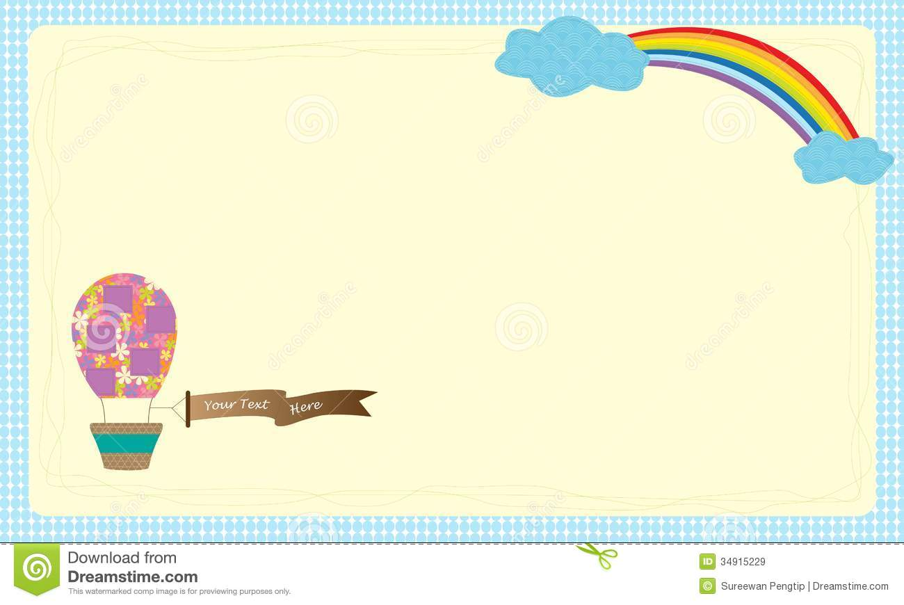 greeting card vector hot air balloon over the sky royalty free stock images