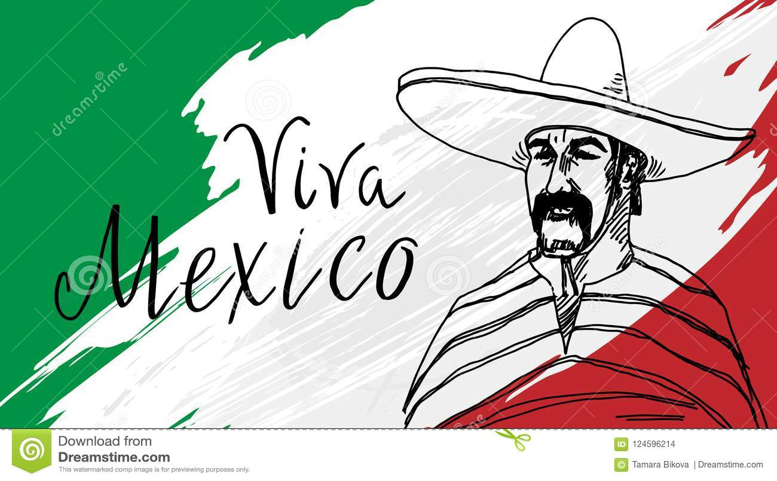 Postcard With Mexican Symbols Stock Illustration Illustration Of