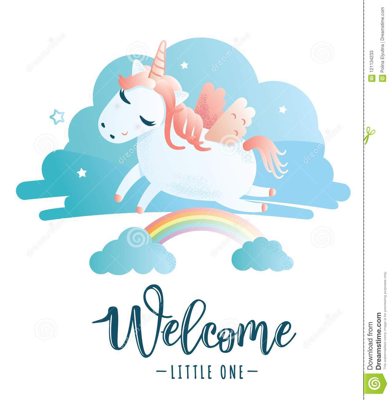 Greeting Card With Welcome Little One Inscription Stock Vector
