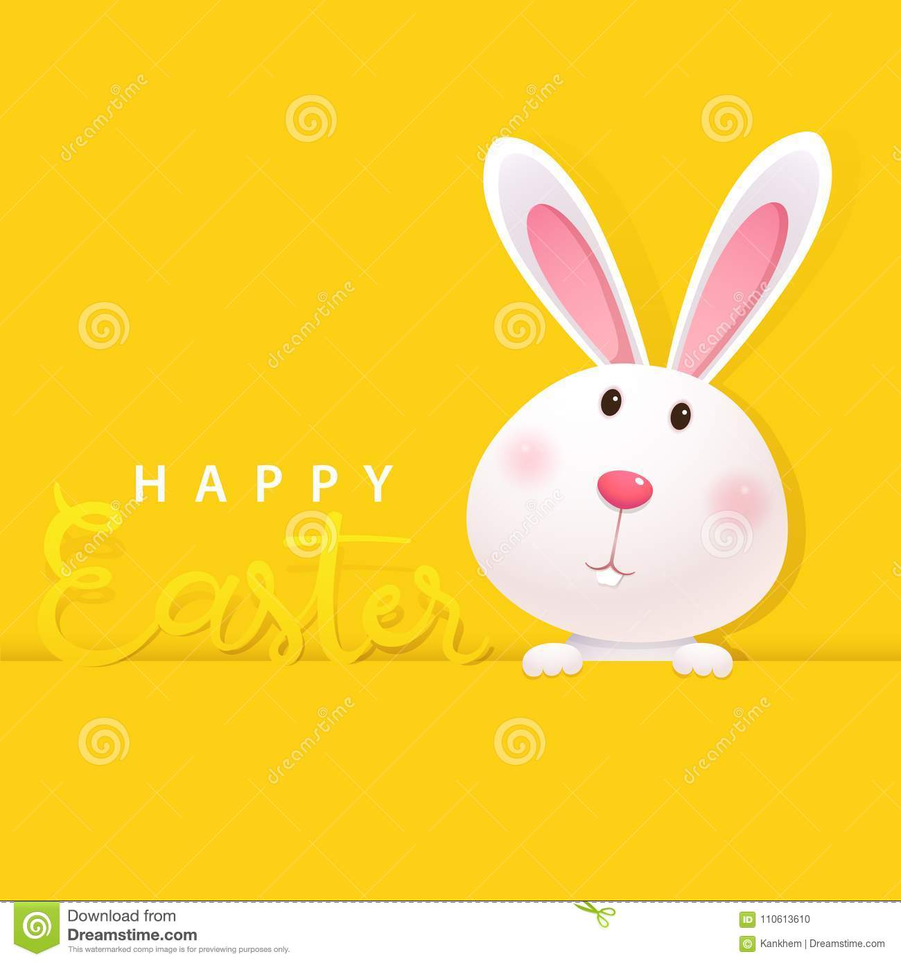 Greeting Card With White Easter Bunny On Yellow Background Happy