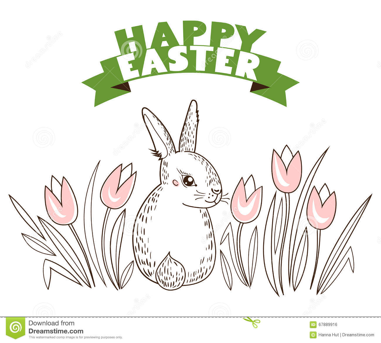 Greeting card with with white easter rabbit and tulips flowers royalty free vector ccuart Image collections