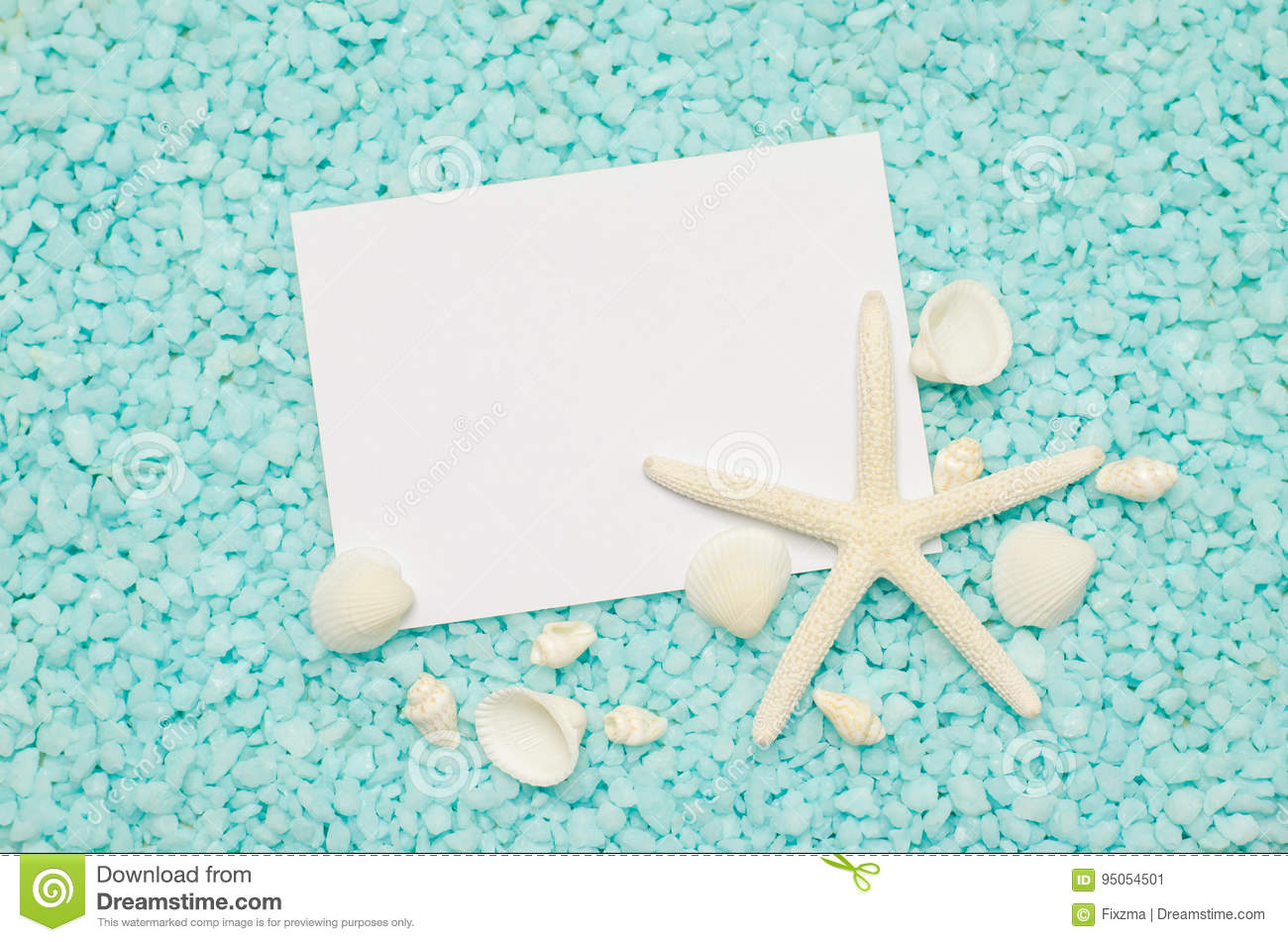 Greeting card with white starfish and seashells stock image image blank white greeting card with white starfish and seashells on blue small stone pebbles m4hsunfo