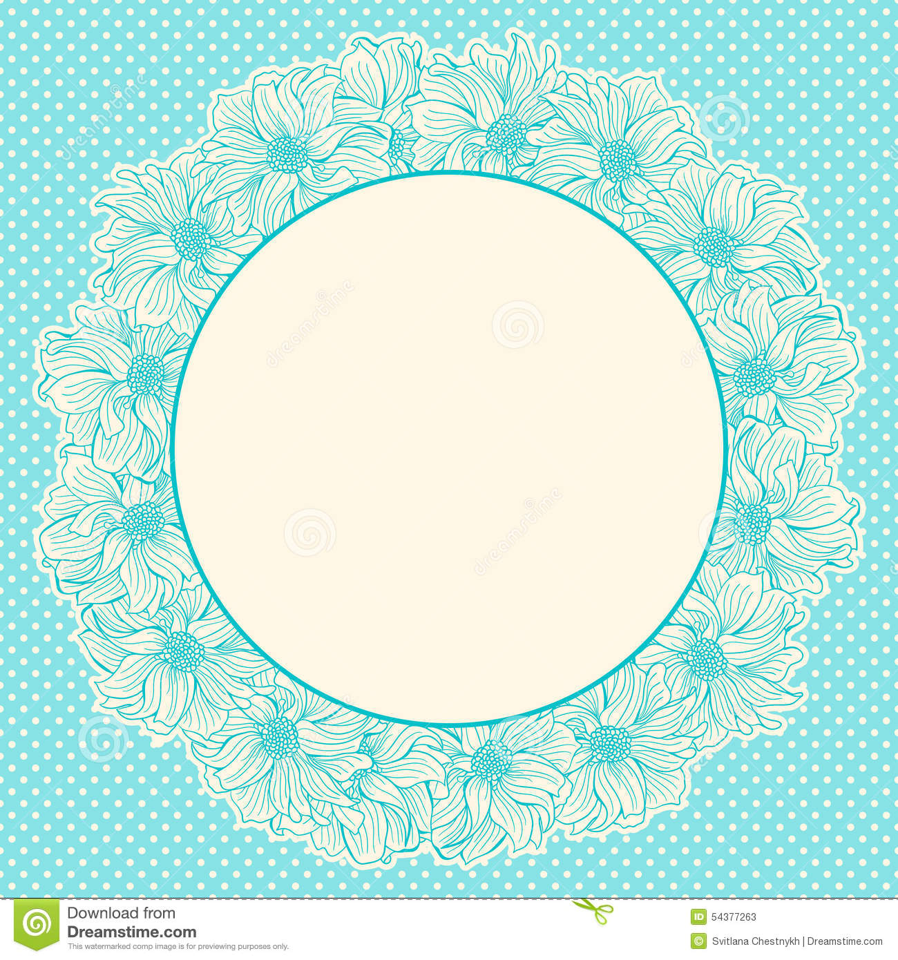 greeting card with wreath of handdrawn flowers stock
