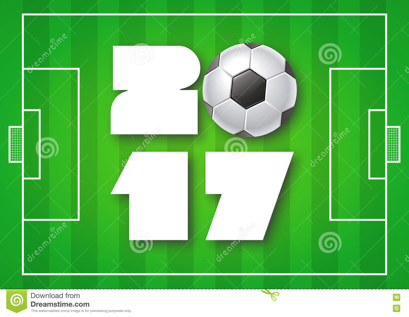 greeting card for 2017 year with soccer ball on bright green
