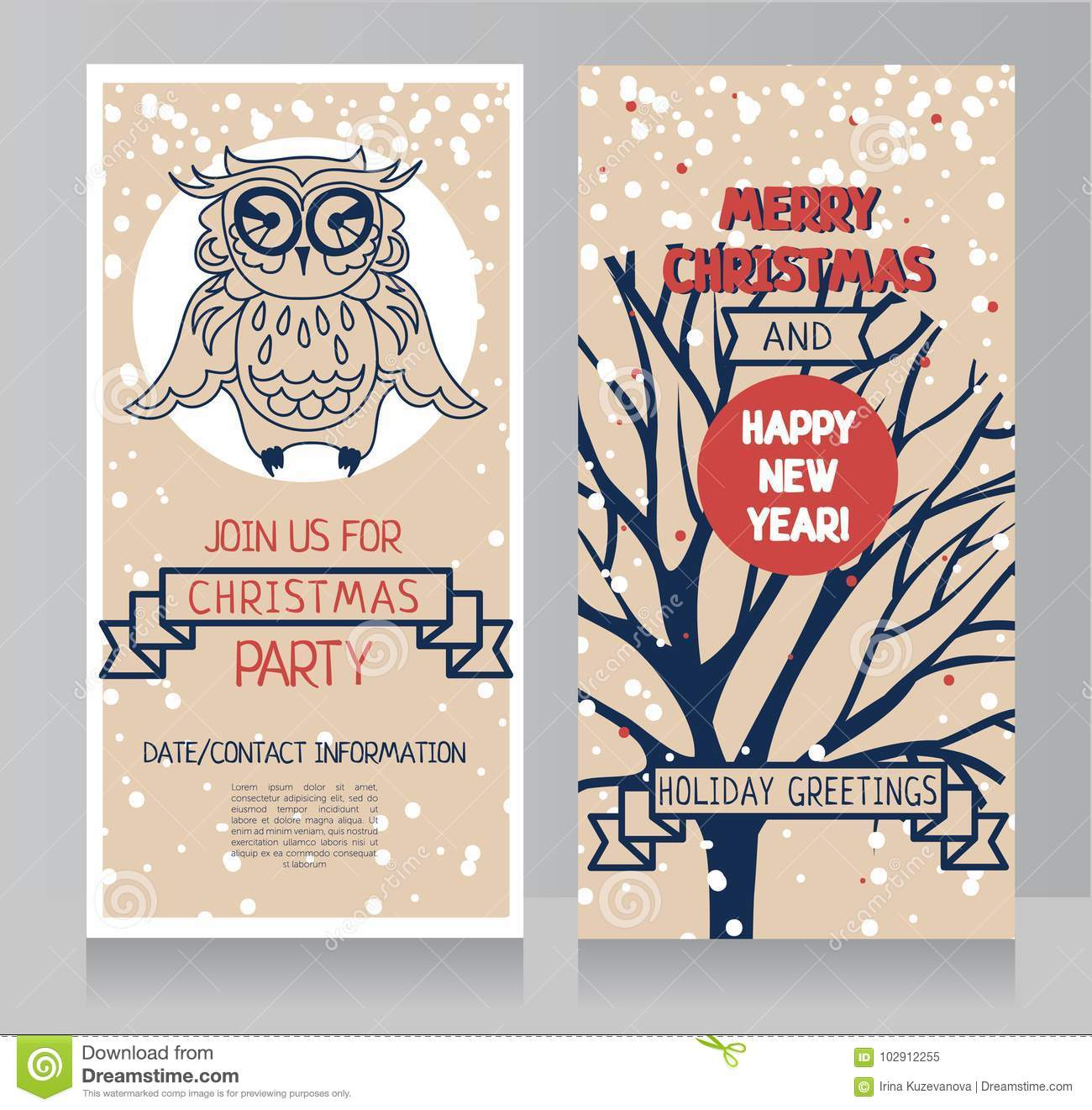 Greeting Cards For Christmas With Cute Owl And Snow Stock Vector ...