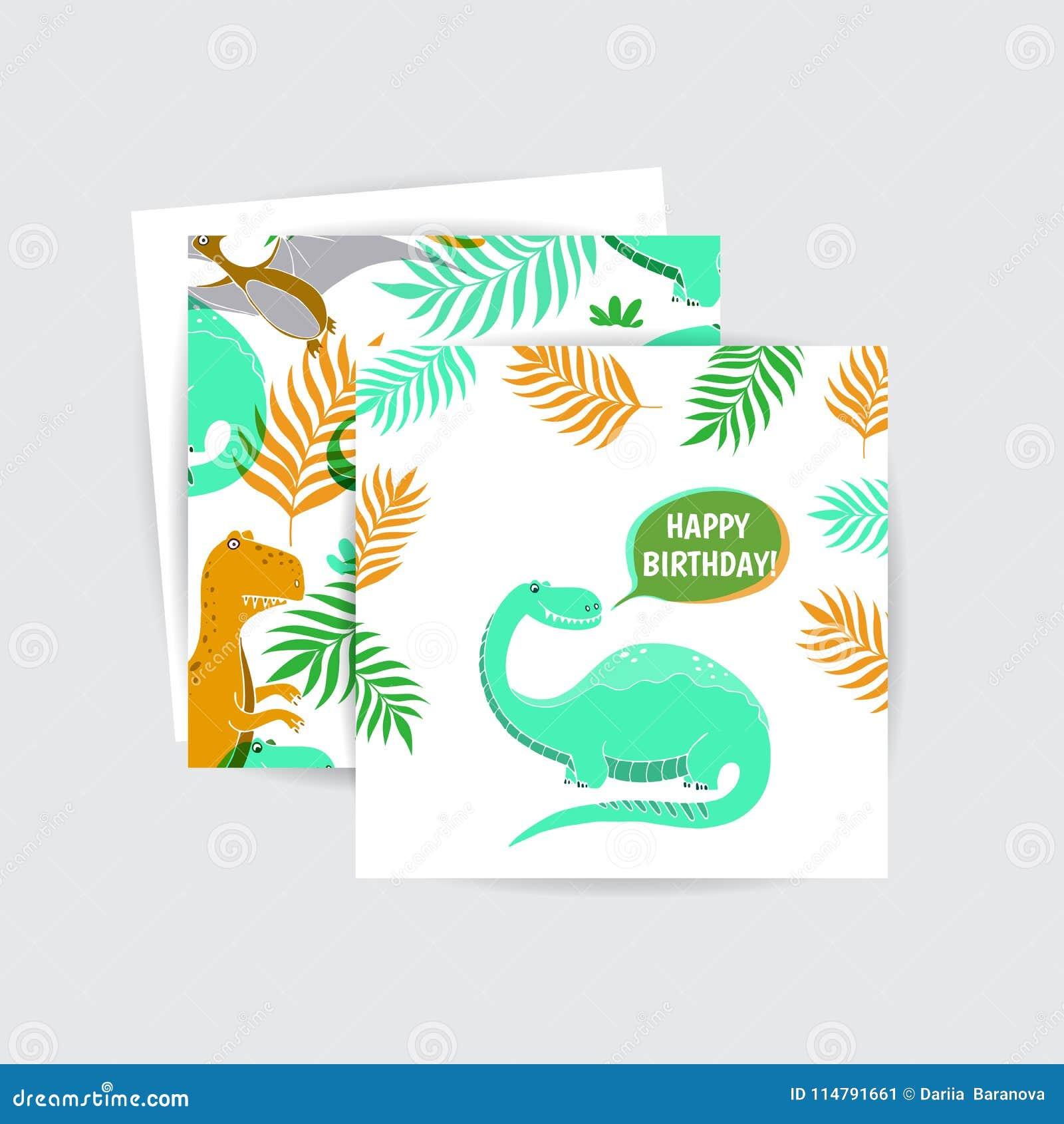 Greeting Cards With Dinosaur Stock Vector Illustration Of Kids Jpg 1300x1390 Ecard Birthday