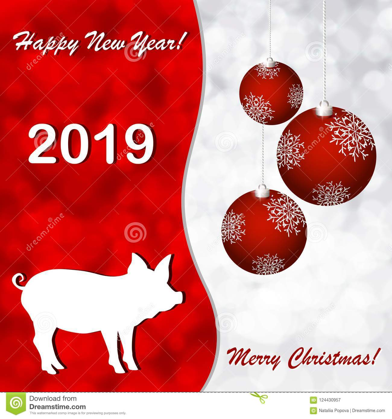 Greeting Cards With A New Year Of The Pig Stock Illustration ...