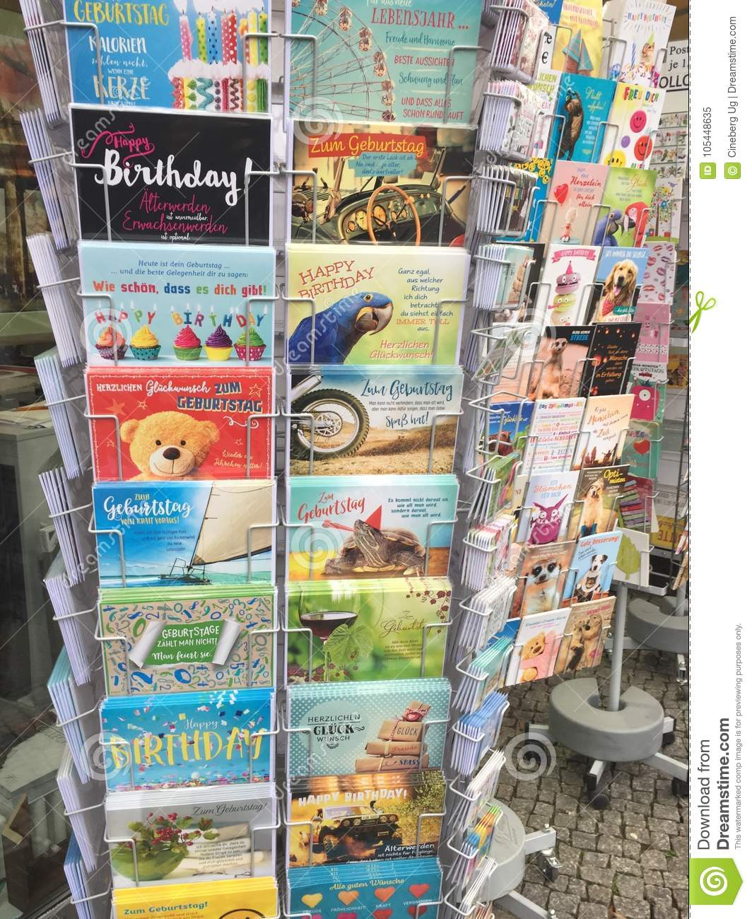 Greeting cards on rack editorial image image of advertising 105448635 berlin germany november 23 2017 holder with colourful greeting cards m4hsunfo