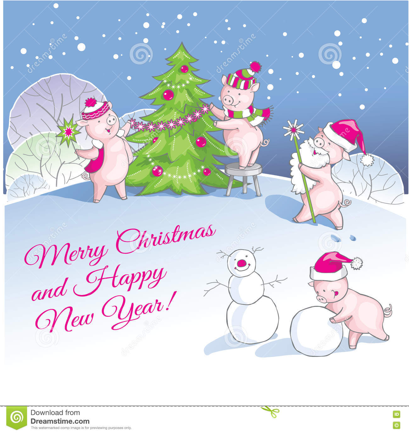 Greeting Christmas And New Year Card With Nice Pigs Stock Vector