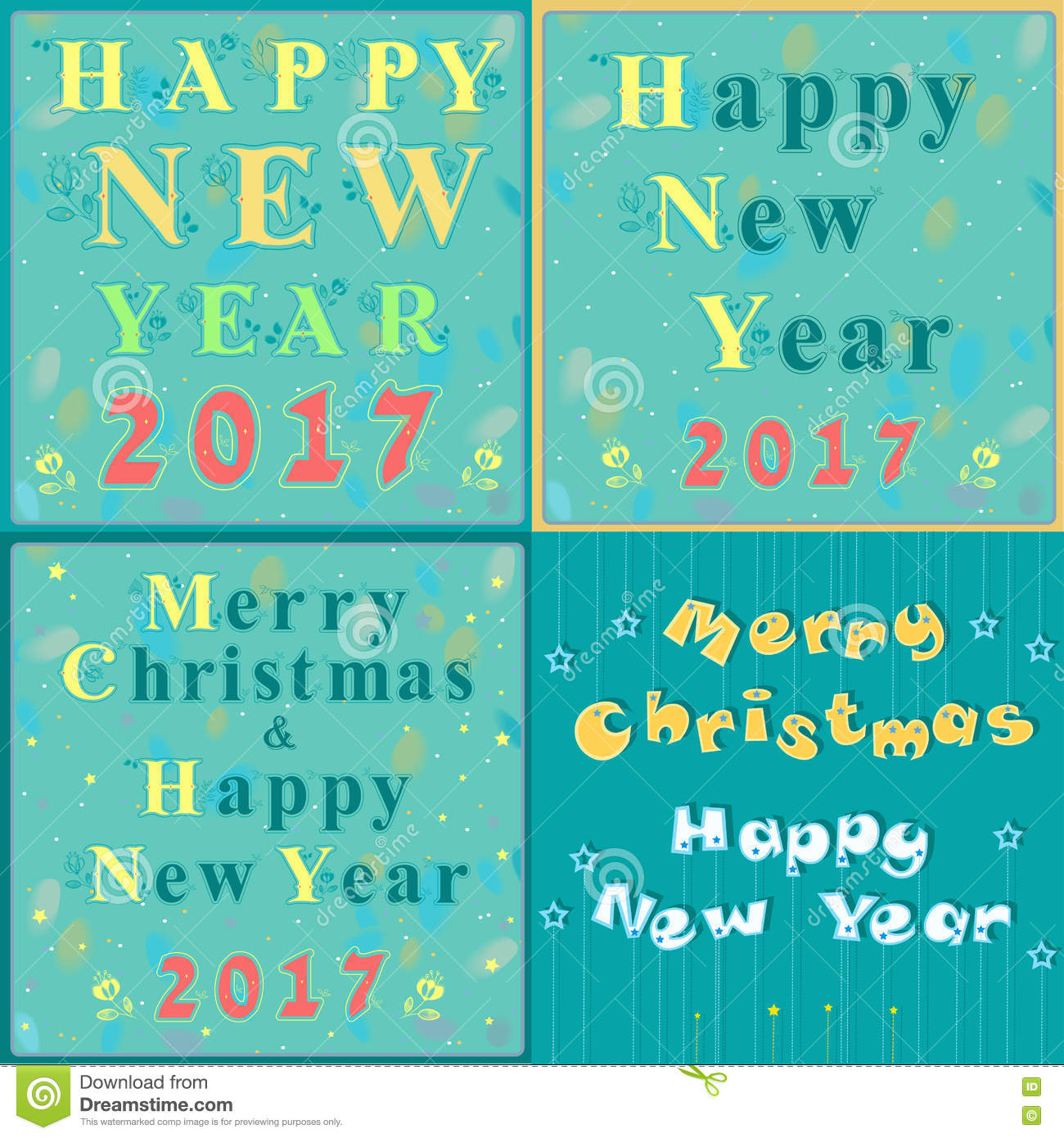 Greeting Christmas And New Year Cards Stock Vector Illustration Of