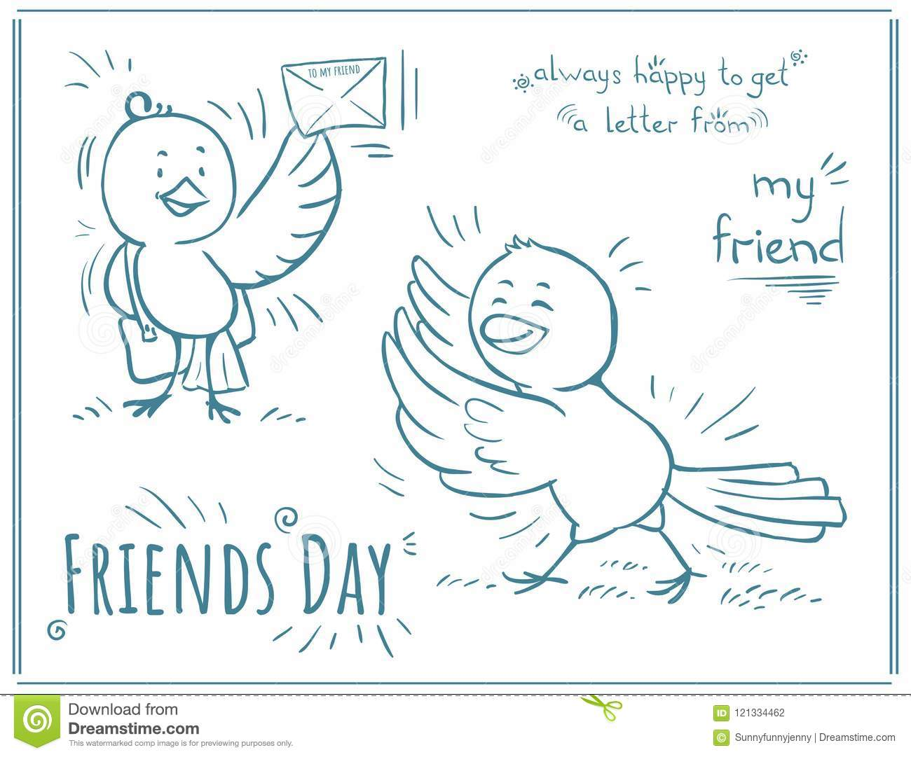 Greeting doodle card day of friendship happy to get letter fro illustration day of friendship happy to get letter from my friend m4hsunfo