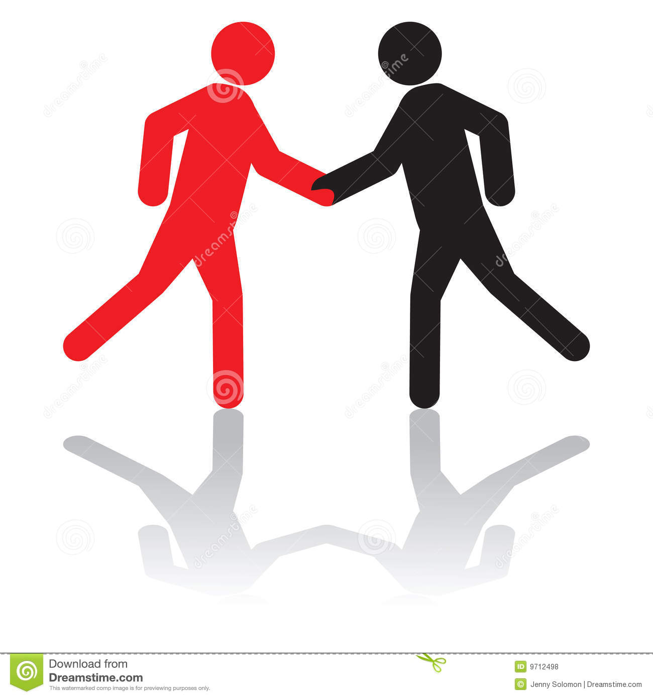Greeting Each Other Or Shaking Hands On A Deal Stock Illustration