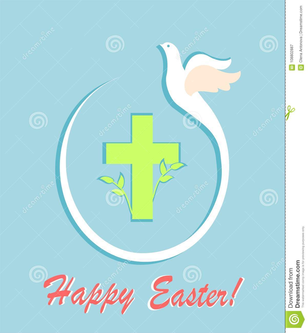 Greeting easter pastel card with cut out paper flying dove egg greeting easter pastel card with cut out paper flying dove egg shape and cross m4hsunfo