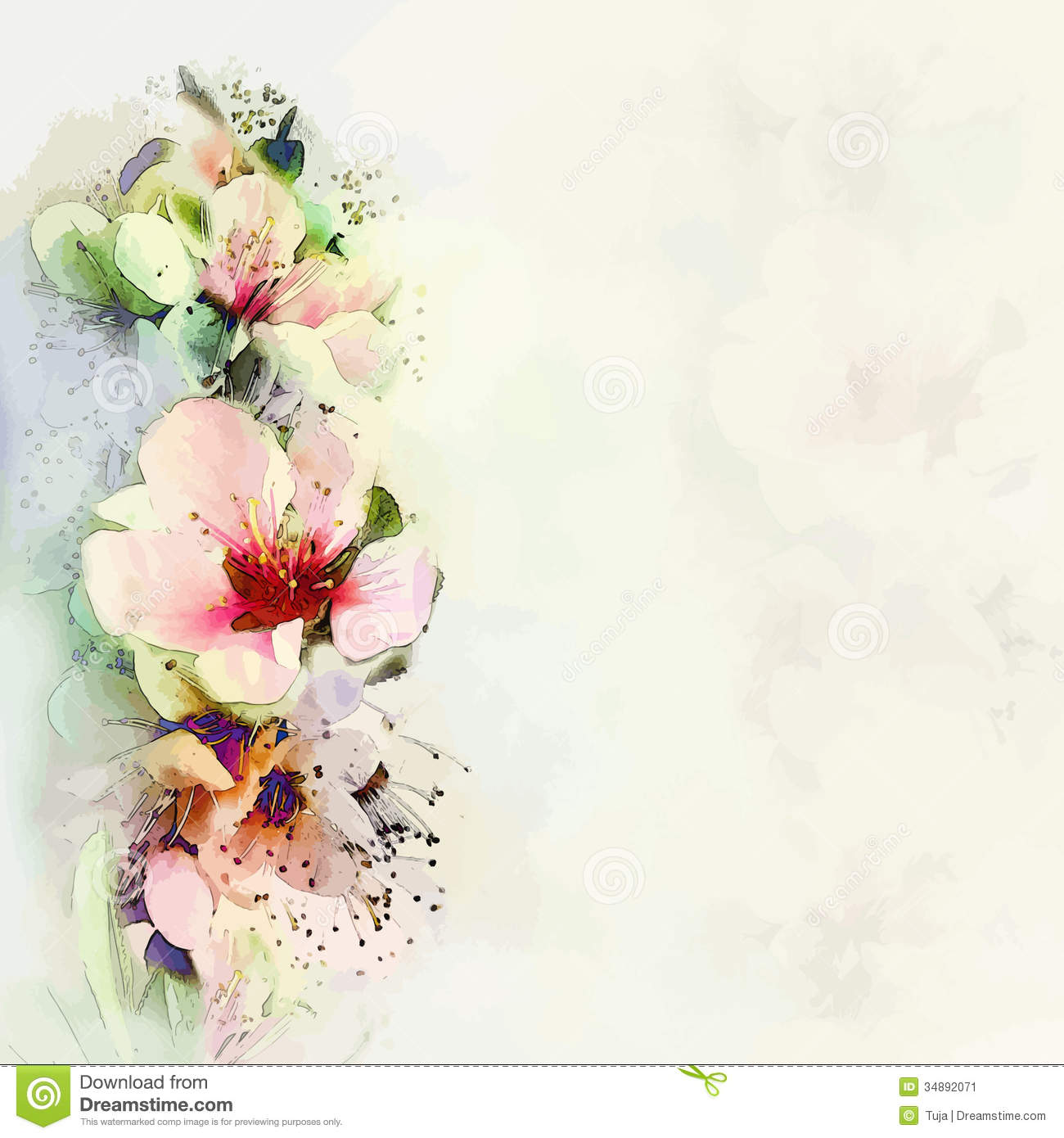 Greeting Floral Card With Bright Spring Flowers Stock