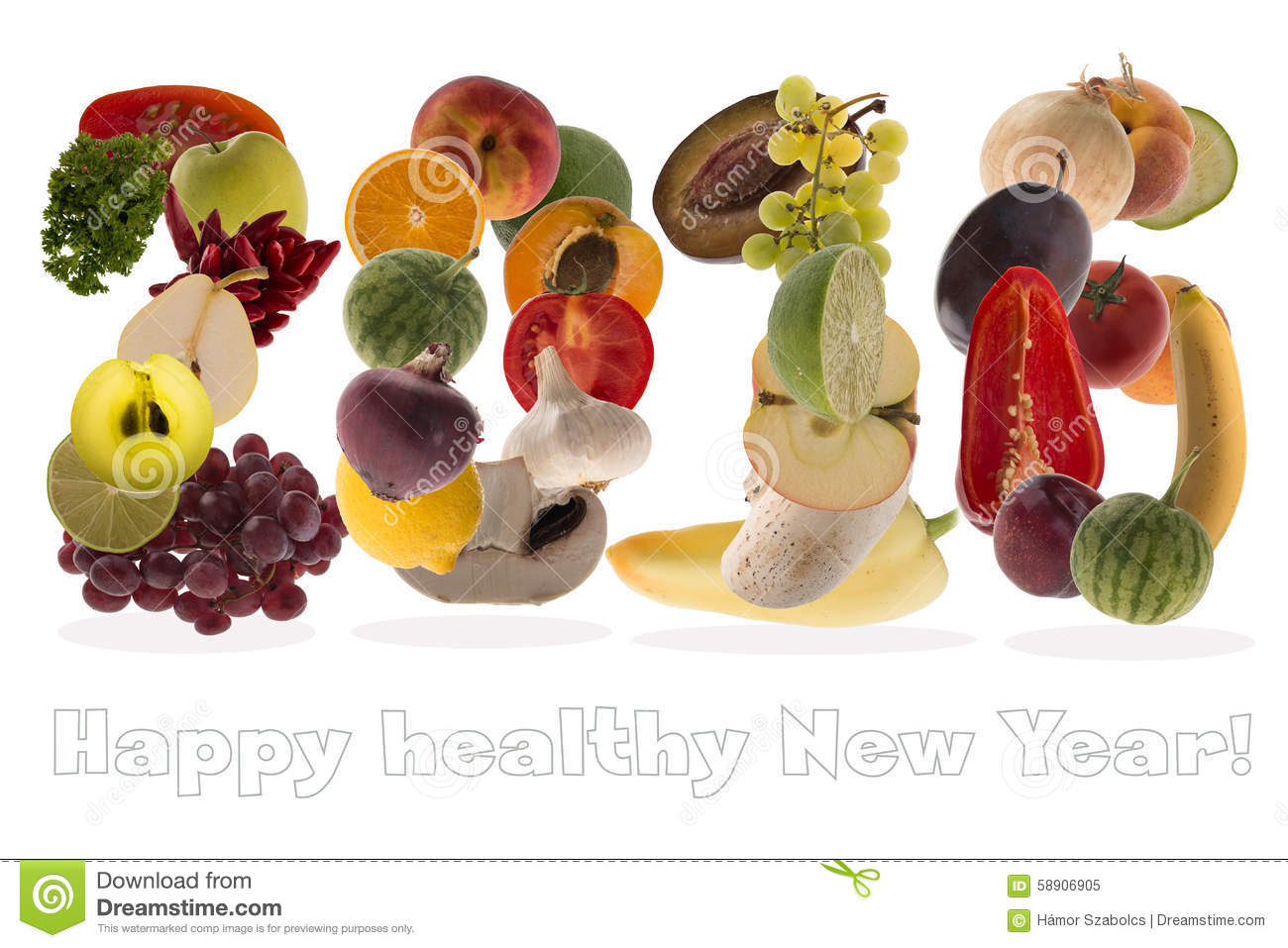 2016 greeting with fruits and vegetables on white background