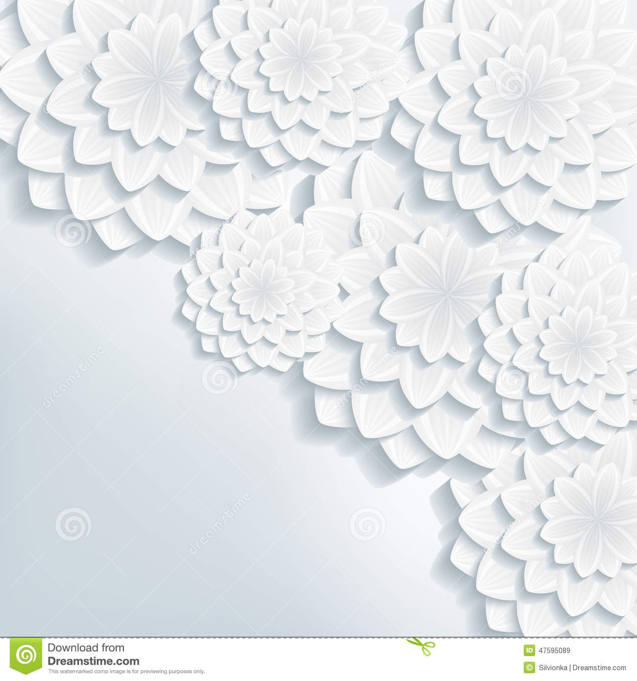 Greeting Or Invitation Card With 3d Flowers Vector Stock